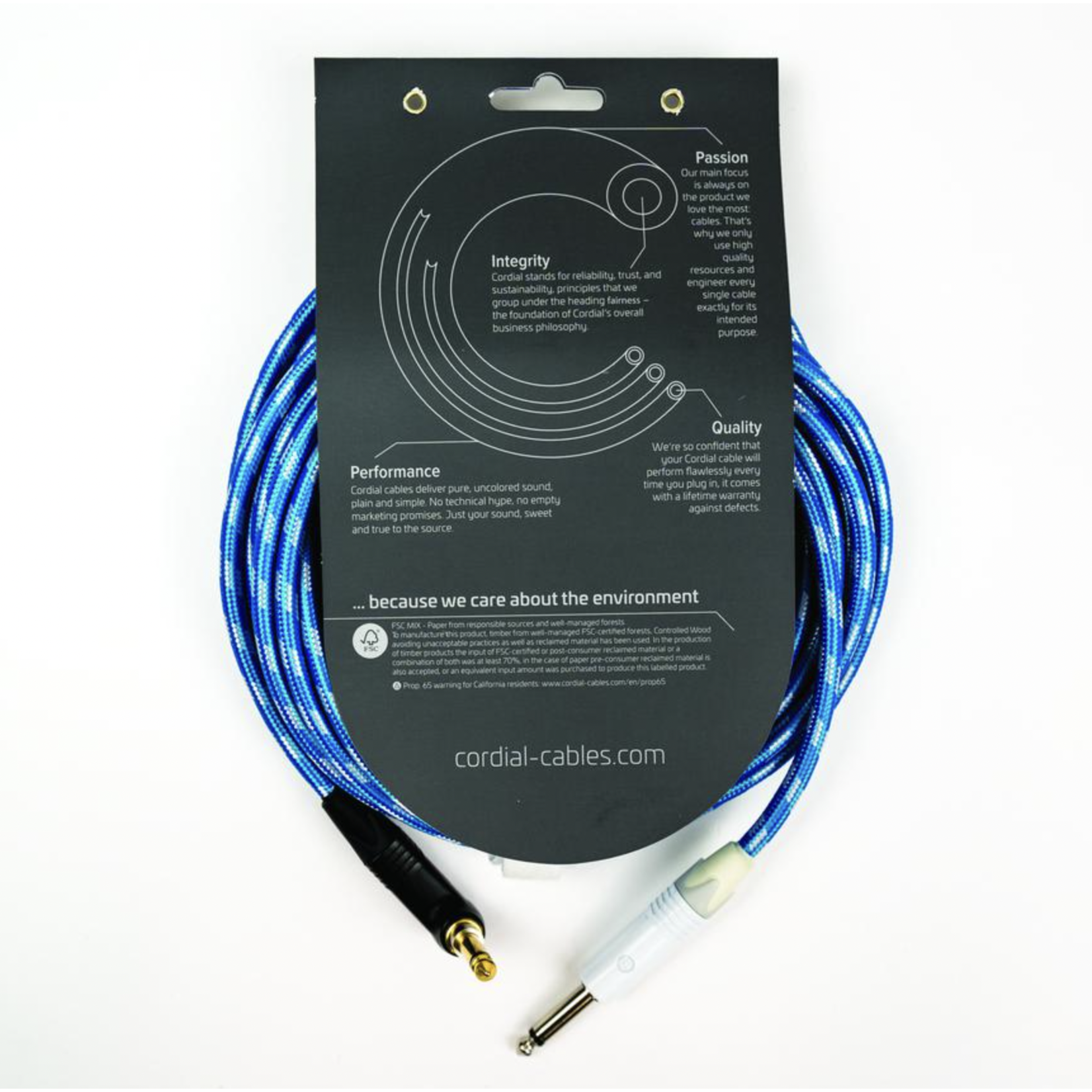 """Cordial Cables Cordial Cables Premium Instrument White/Blue Sky Textile Cable with Neutrik Silent Plug, Peak Series - 30-Foot Cable, 1/4"""" Straight to 1/4"""" Right-Angle Phone Plugs, No-Fray Sleeve"""