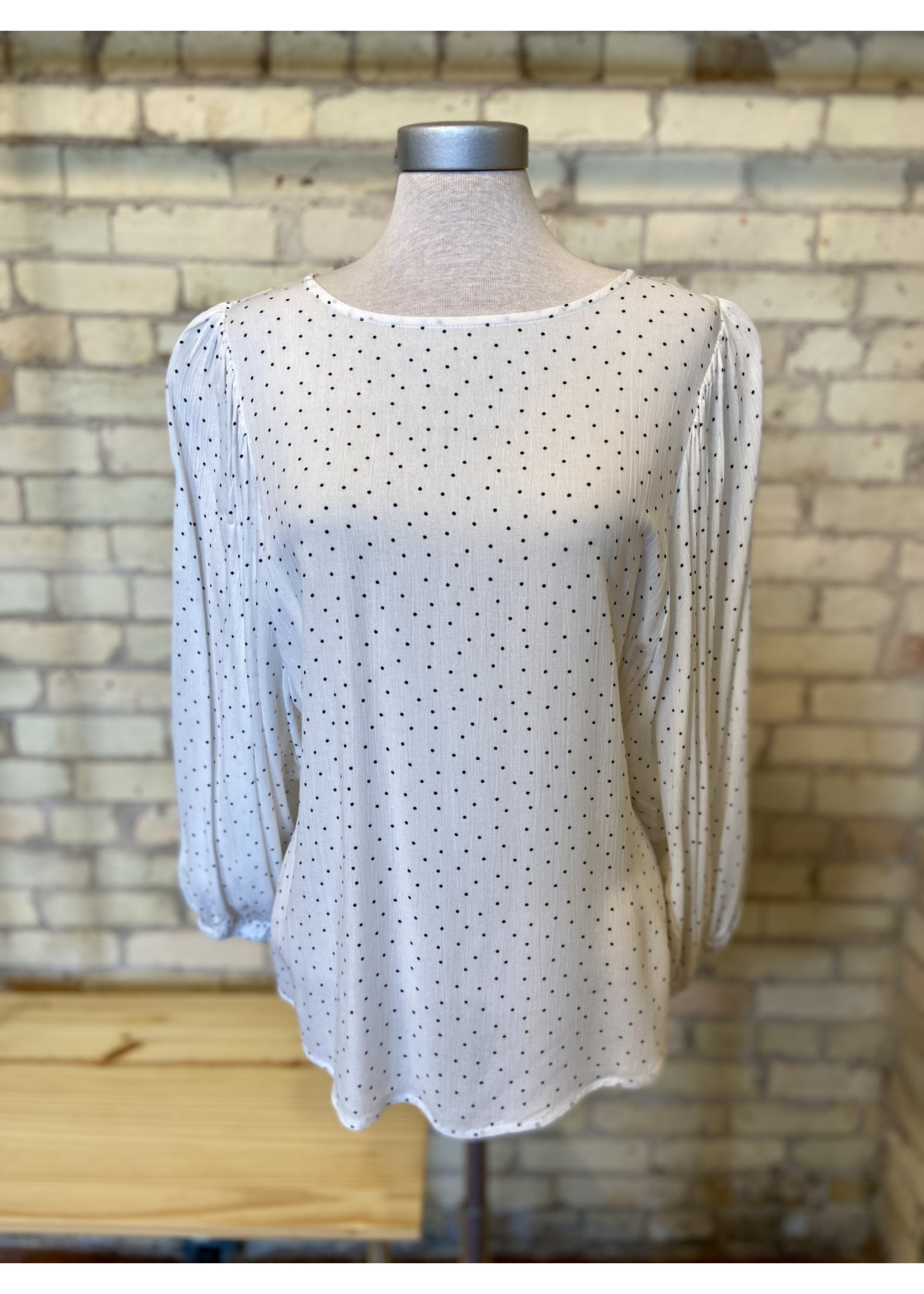 Mittoshop Gauze Dot Smocking Blouse Ivory/Black
