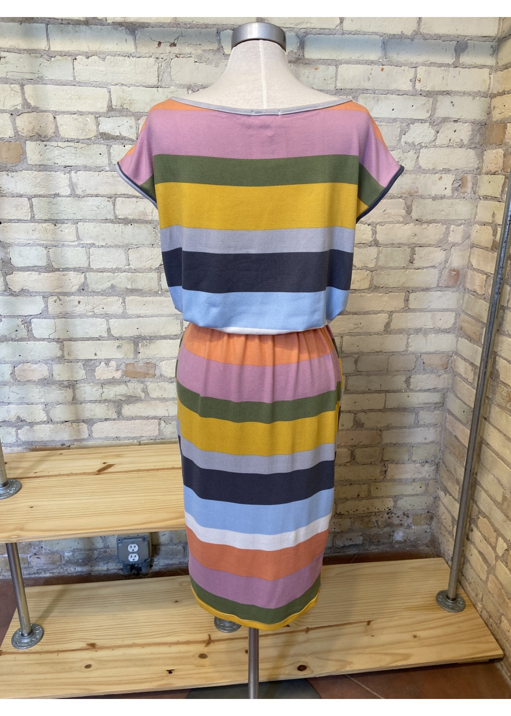 Bluivy Jersey Multi Stripe Midi Dress