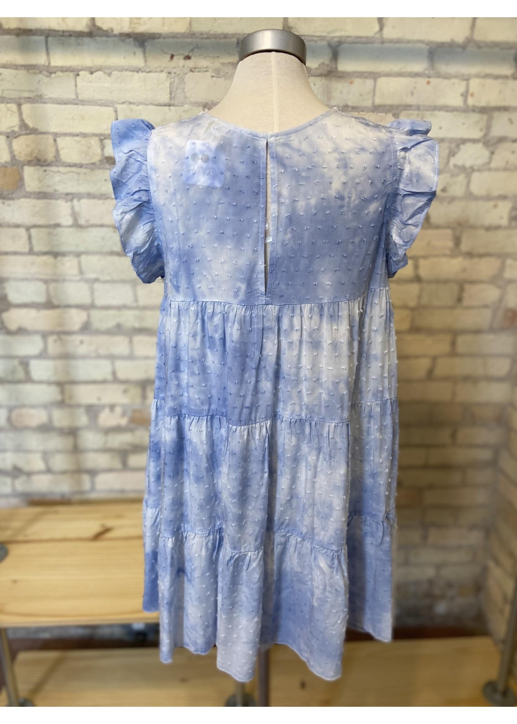 Aakaa Ruffle Sleeve Tiered Tie Dye Mini Dress