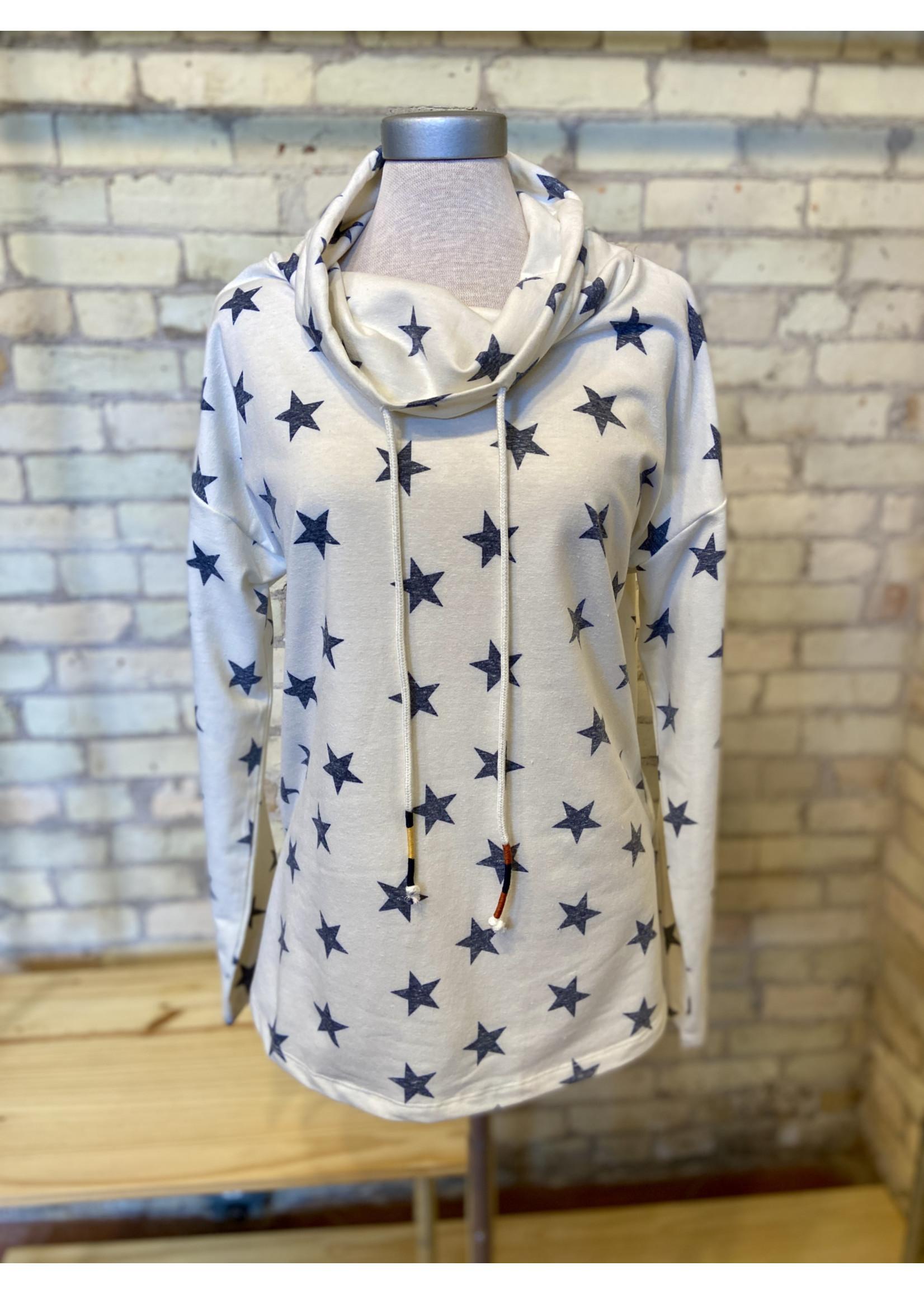 Hem & Thread Star Print Cowl Neck Sweatshirt