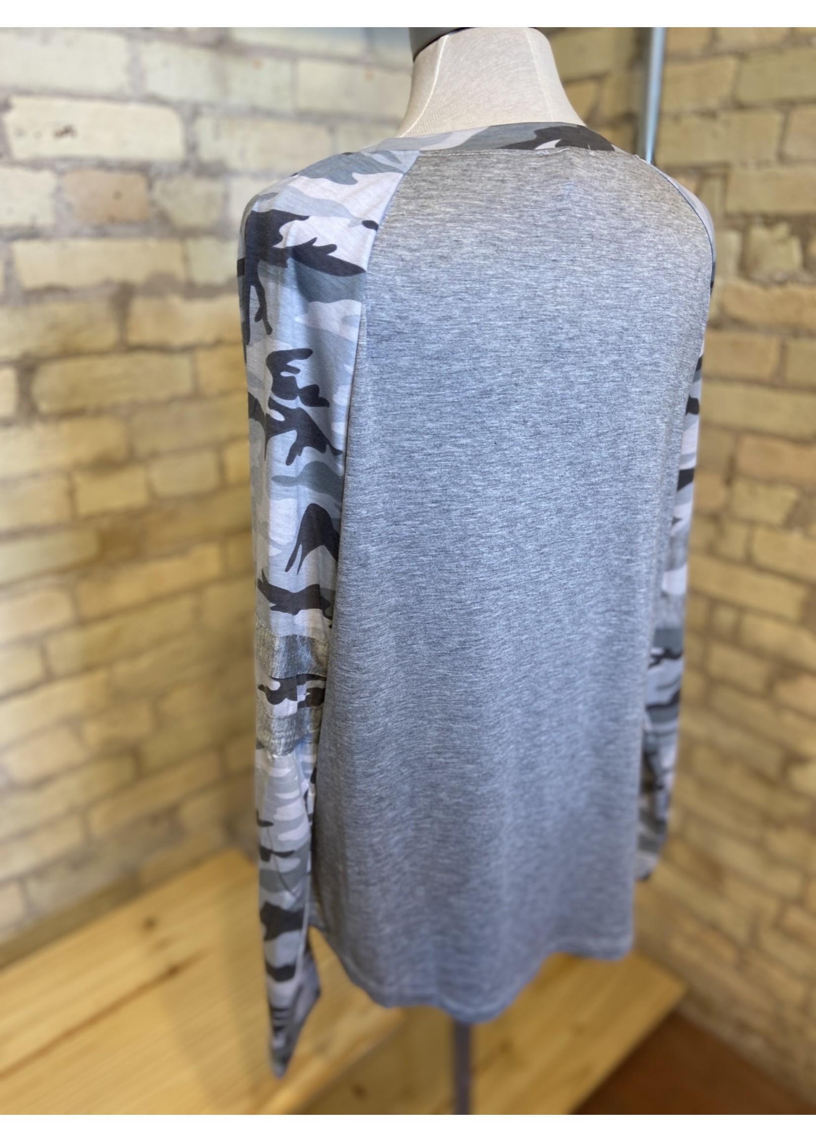 Hem & Thread Camo Raglan Sleeve Jersey Top