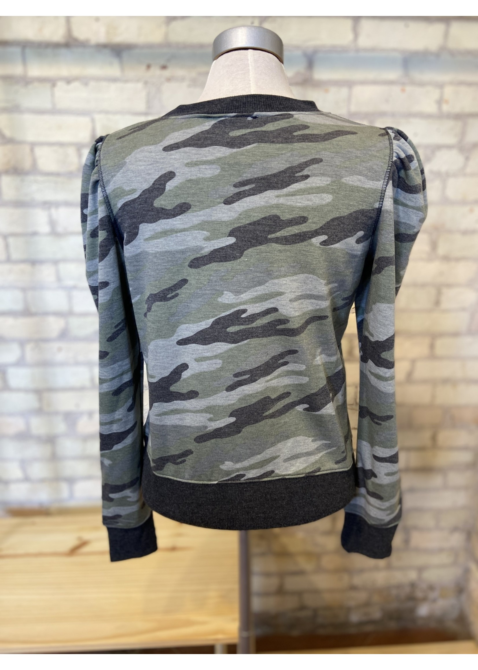 Maple Sage Camo Puffed Sleeve Top