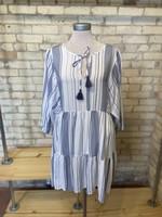 Aakaa Dolman 3/4 Sleeve Tiered Mini Dress