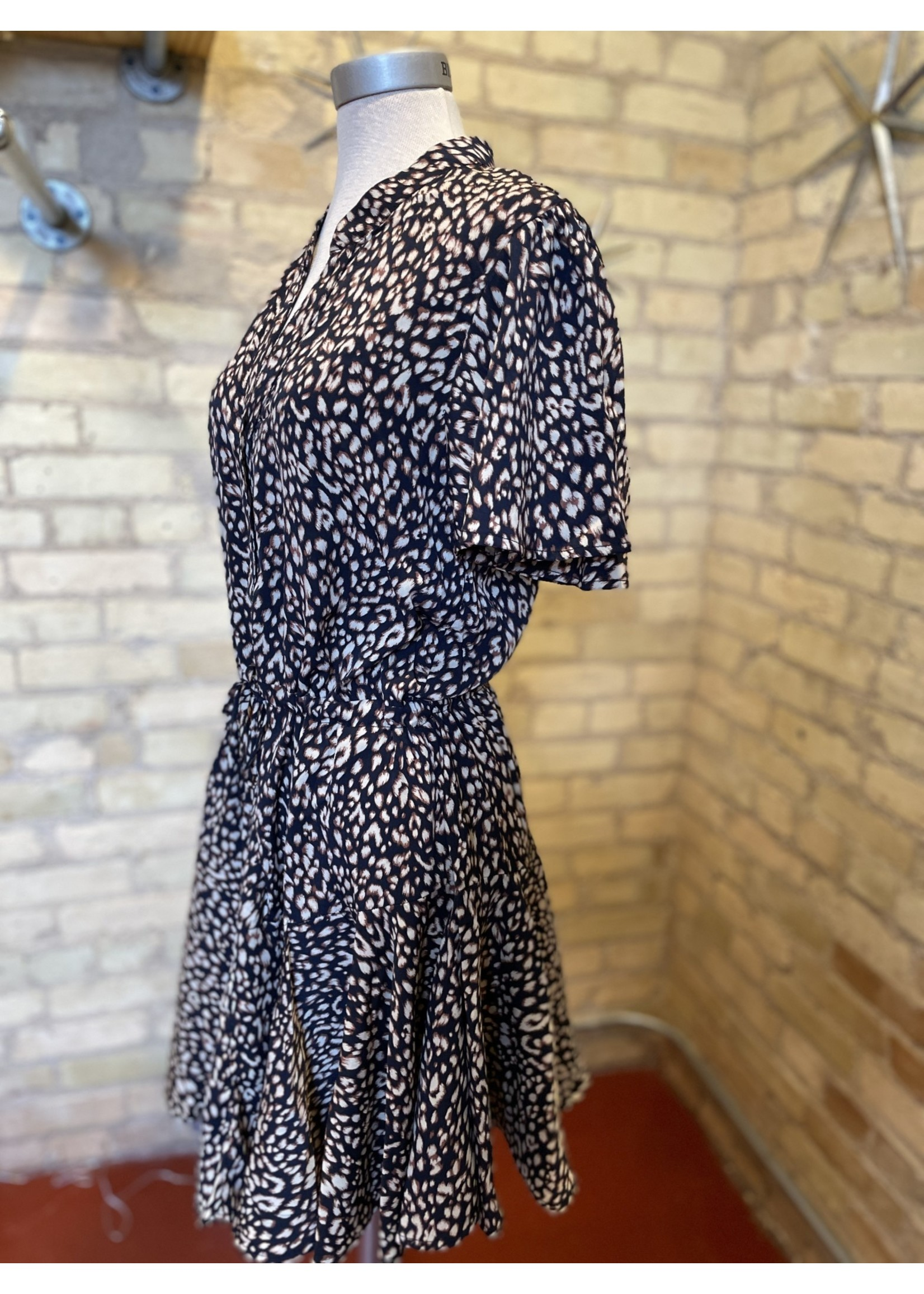 By Together Leopard Button Down Short Sleeved Dress