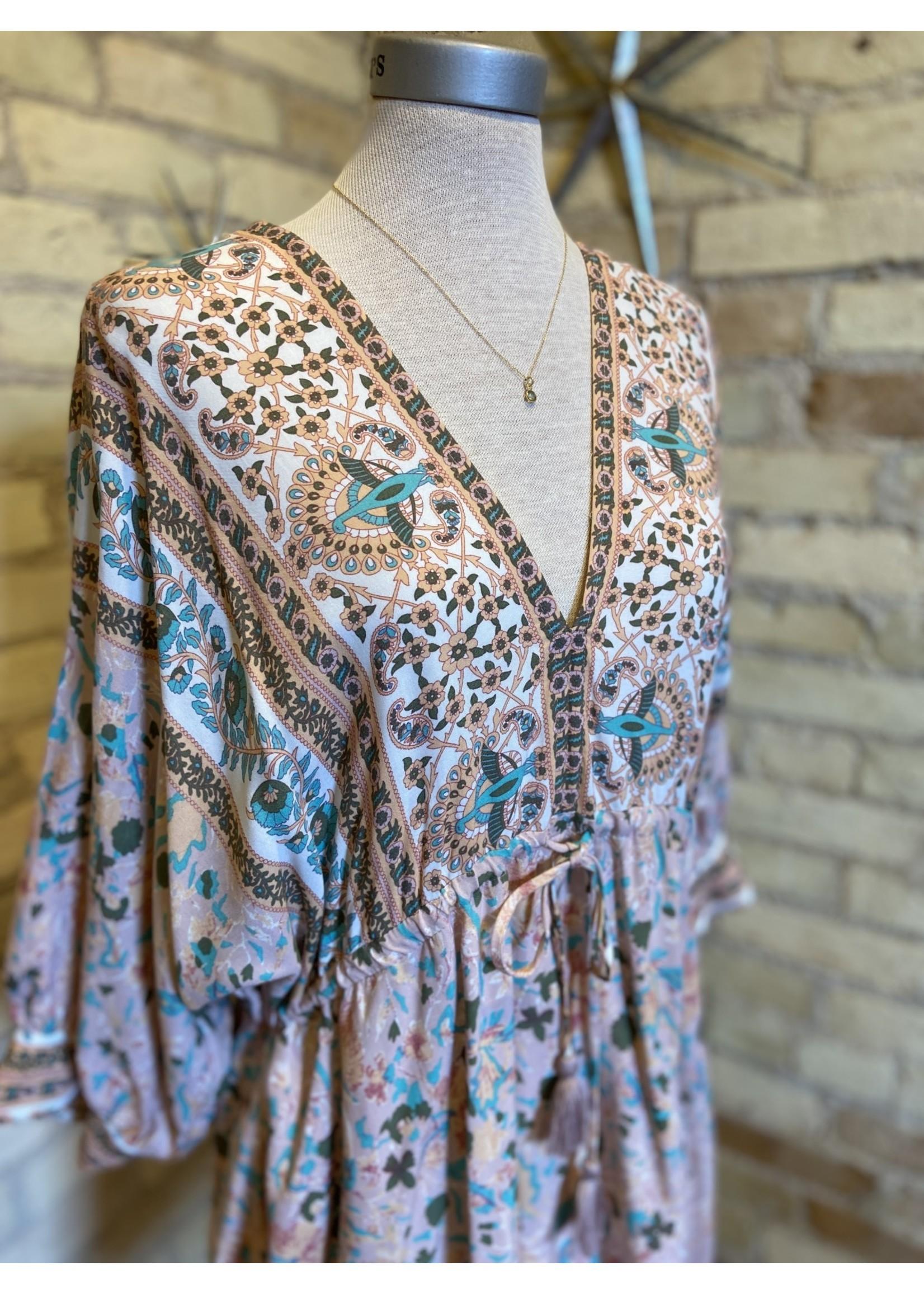 Aakaa Dolman 3/4 Border Print Mini Dress
