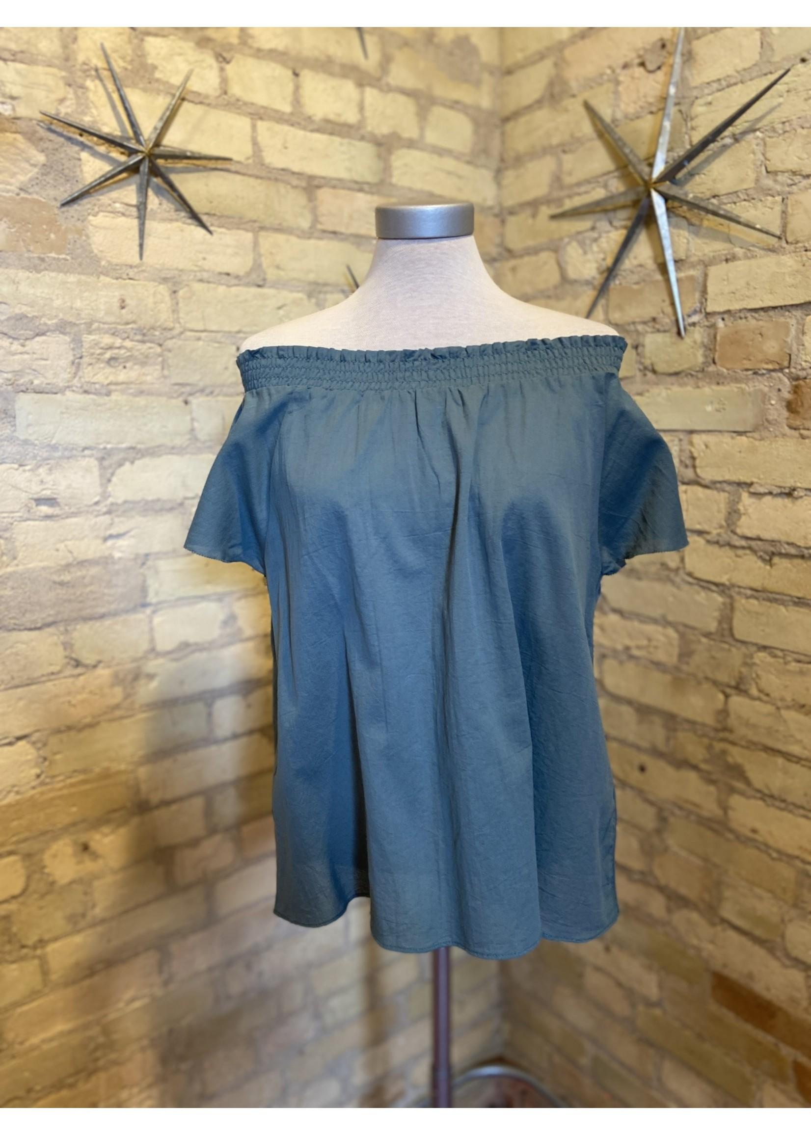 Grade & Gather Smocked Neckline Cotton Blouse