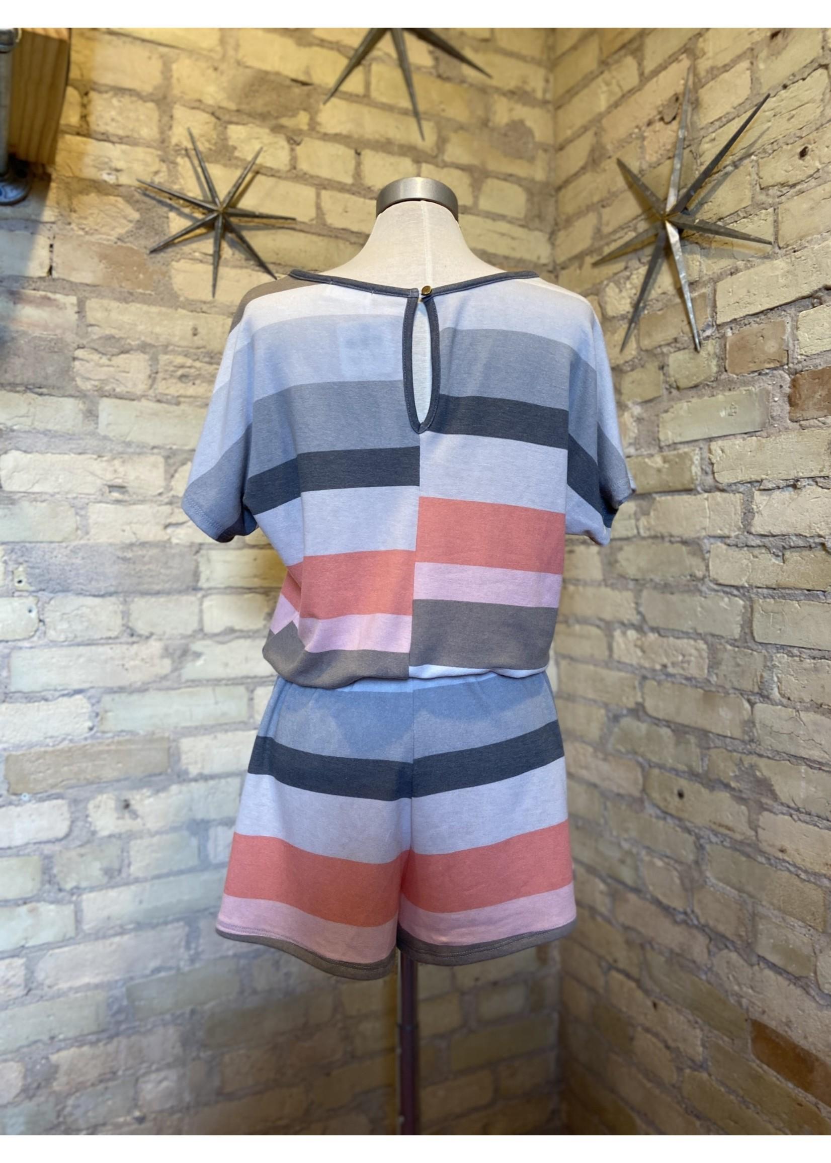 Bluivy Multi Color Striped Romper