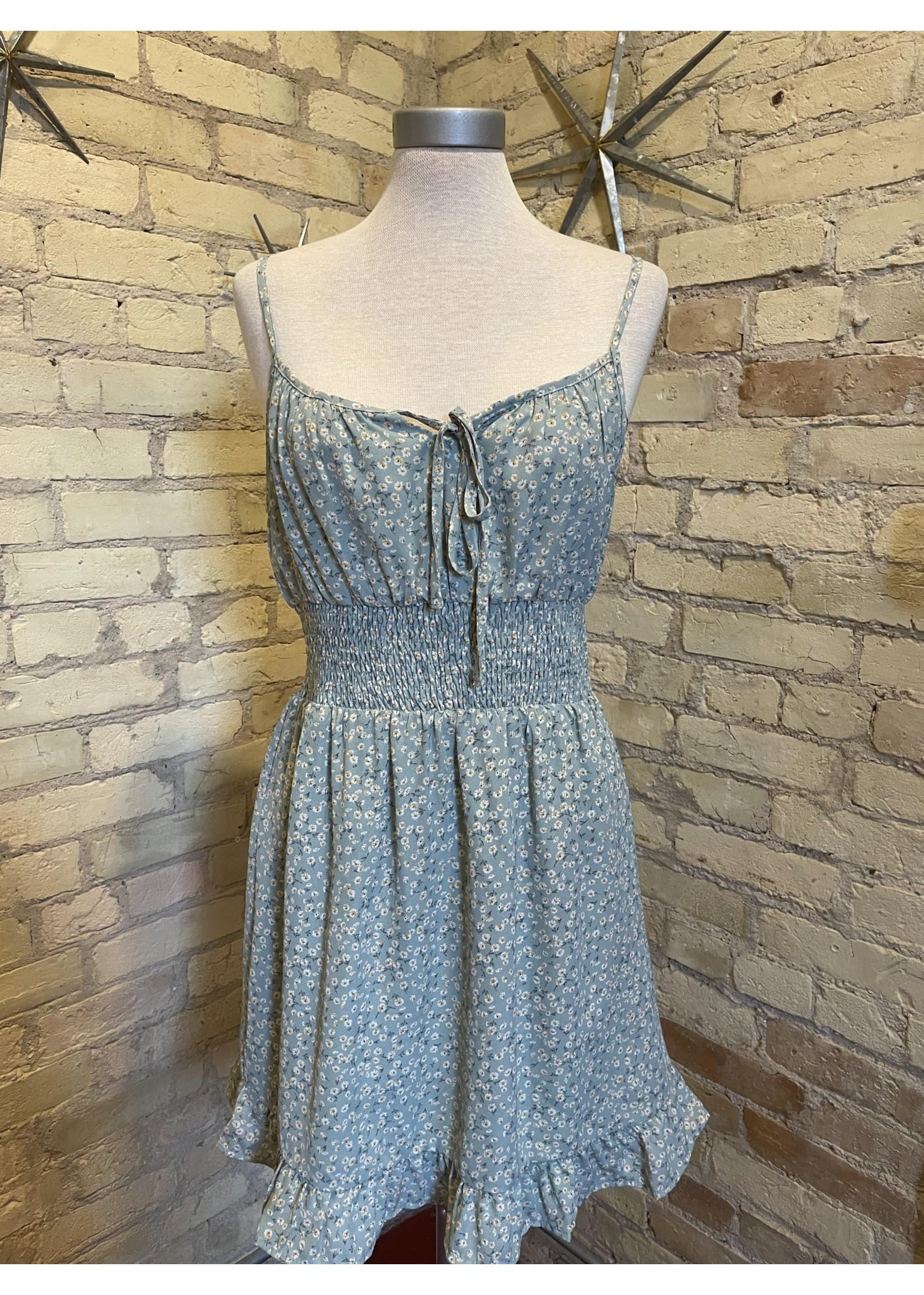 Paper Crane Floral Front Tie Sleeveless Dress