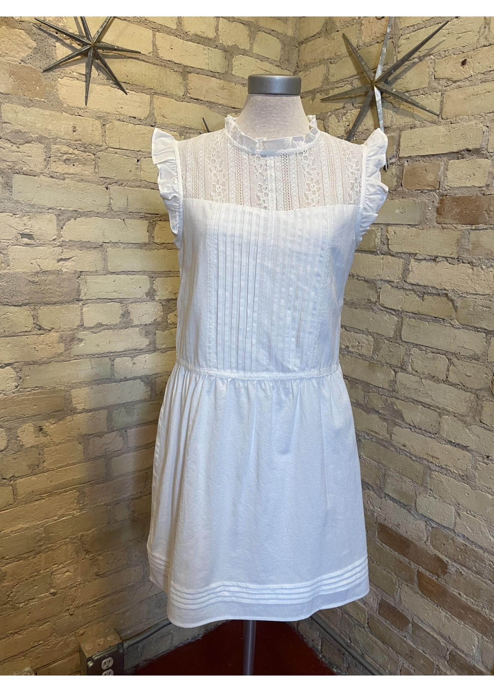 Paper Crane Ruffled Collar Sleeveless Dress