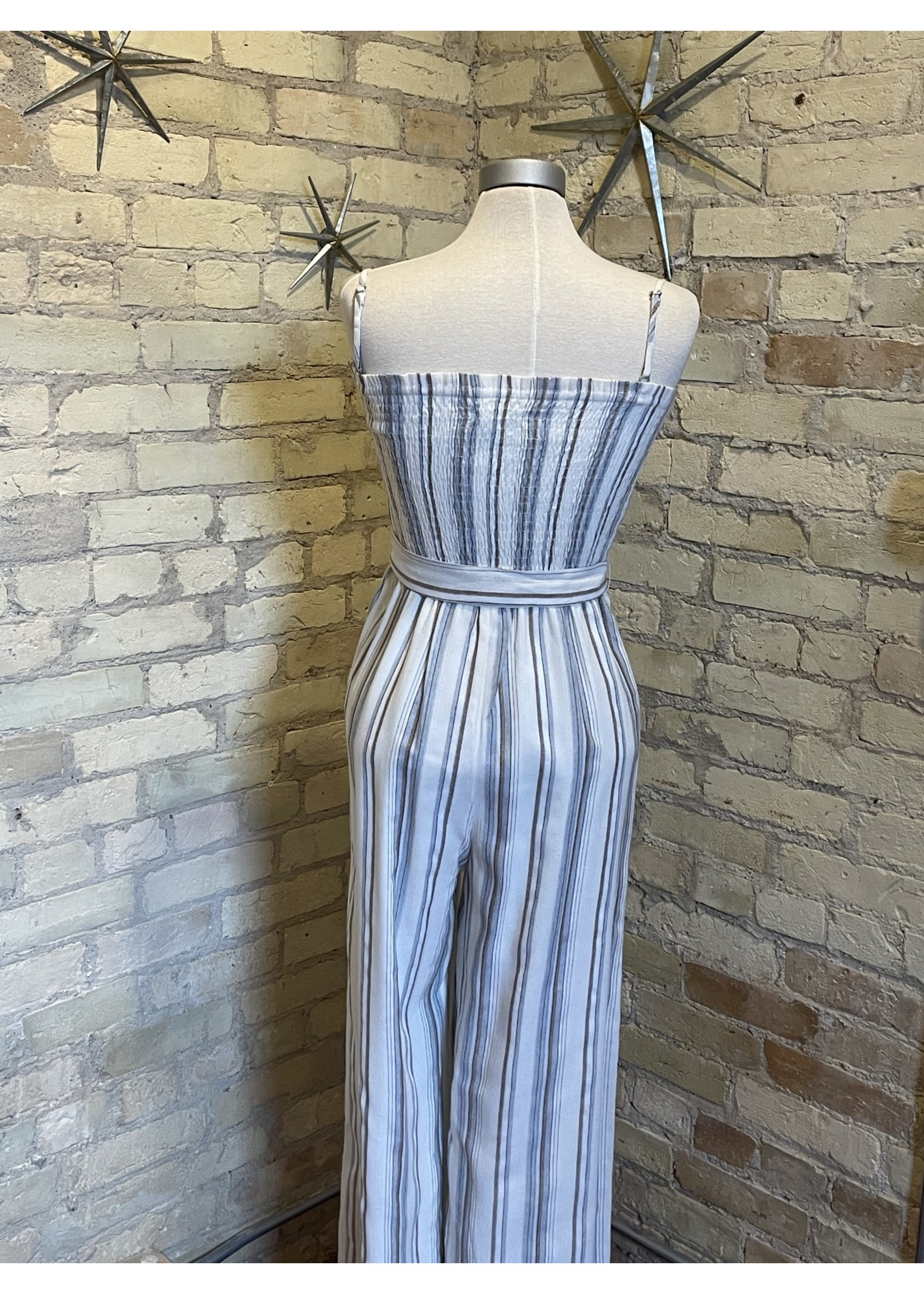 Paper Crane Striped Smocked Jumpsuit