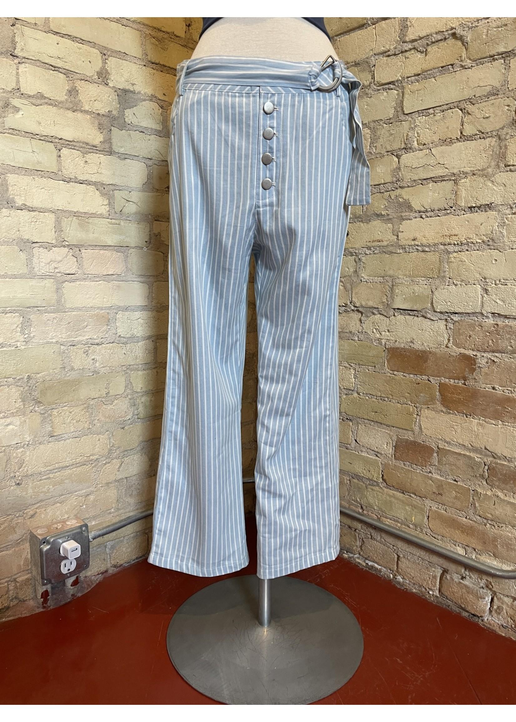 Paper Crane Striped Buttoned Waist Belt Pants