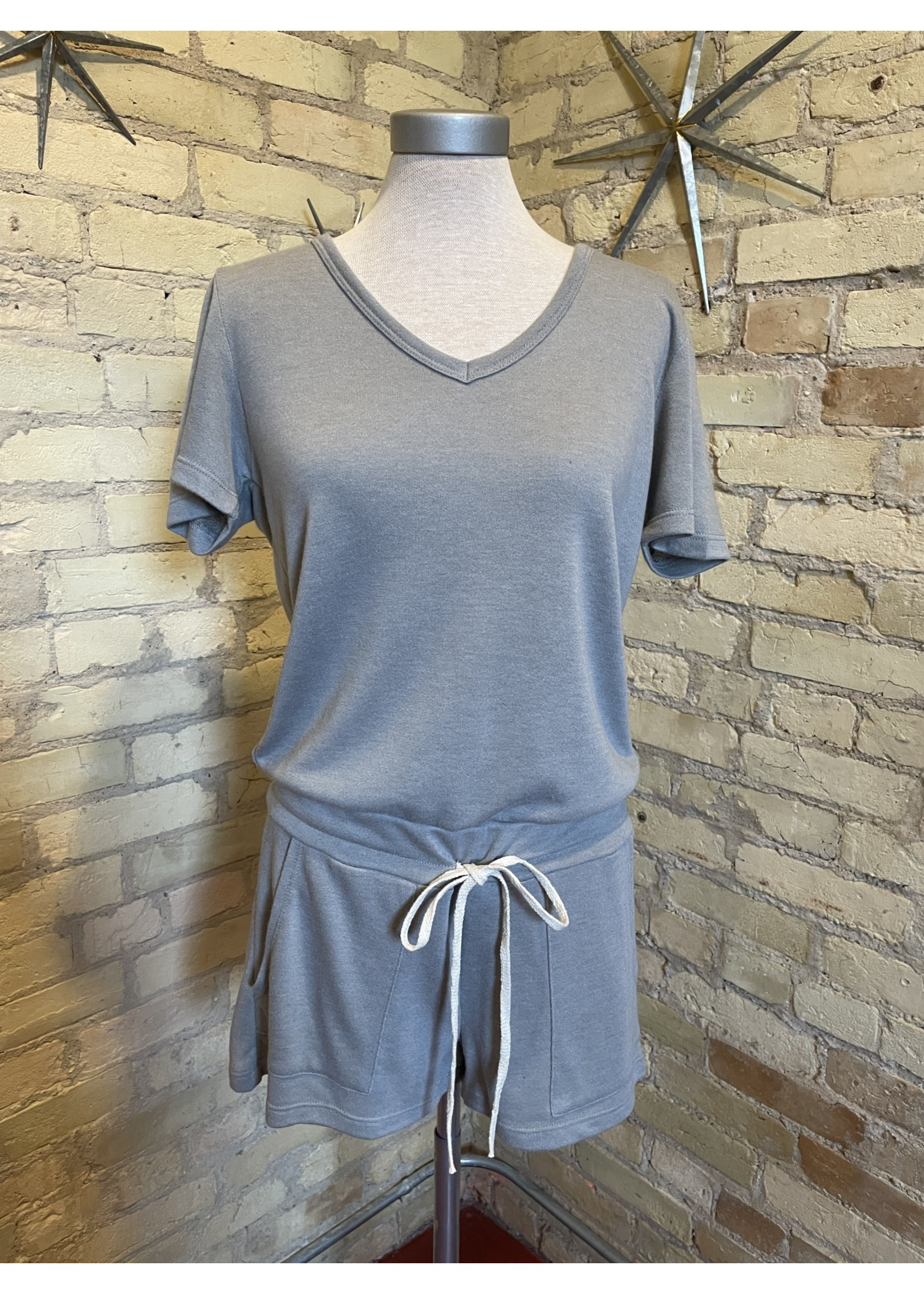 Maple Sage French Terry Short Sleeve Romper
