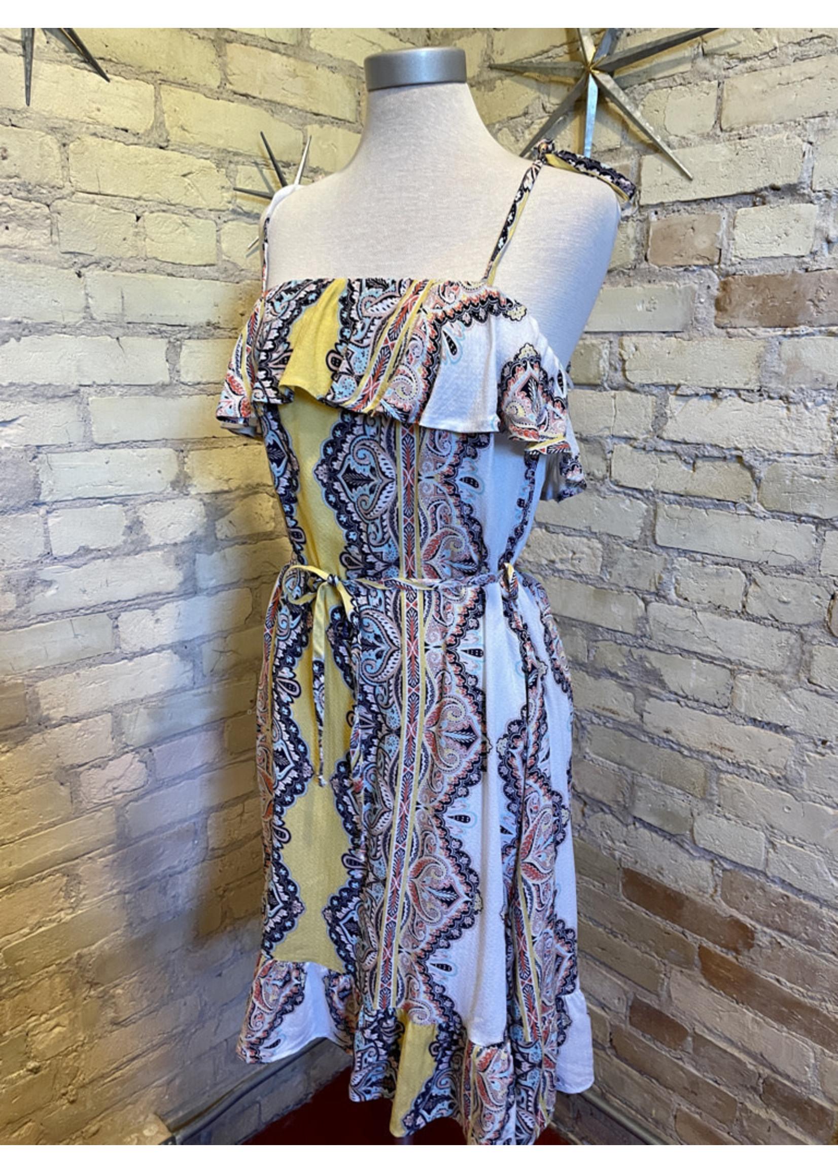 Renee C. Boho Print Dress with Ruffle
