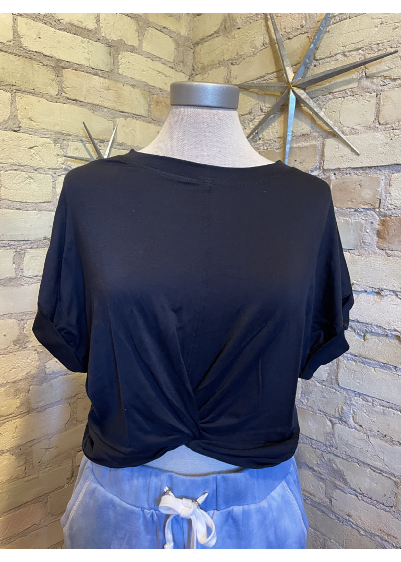 Mono B Twisted Front Cropped Top