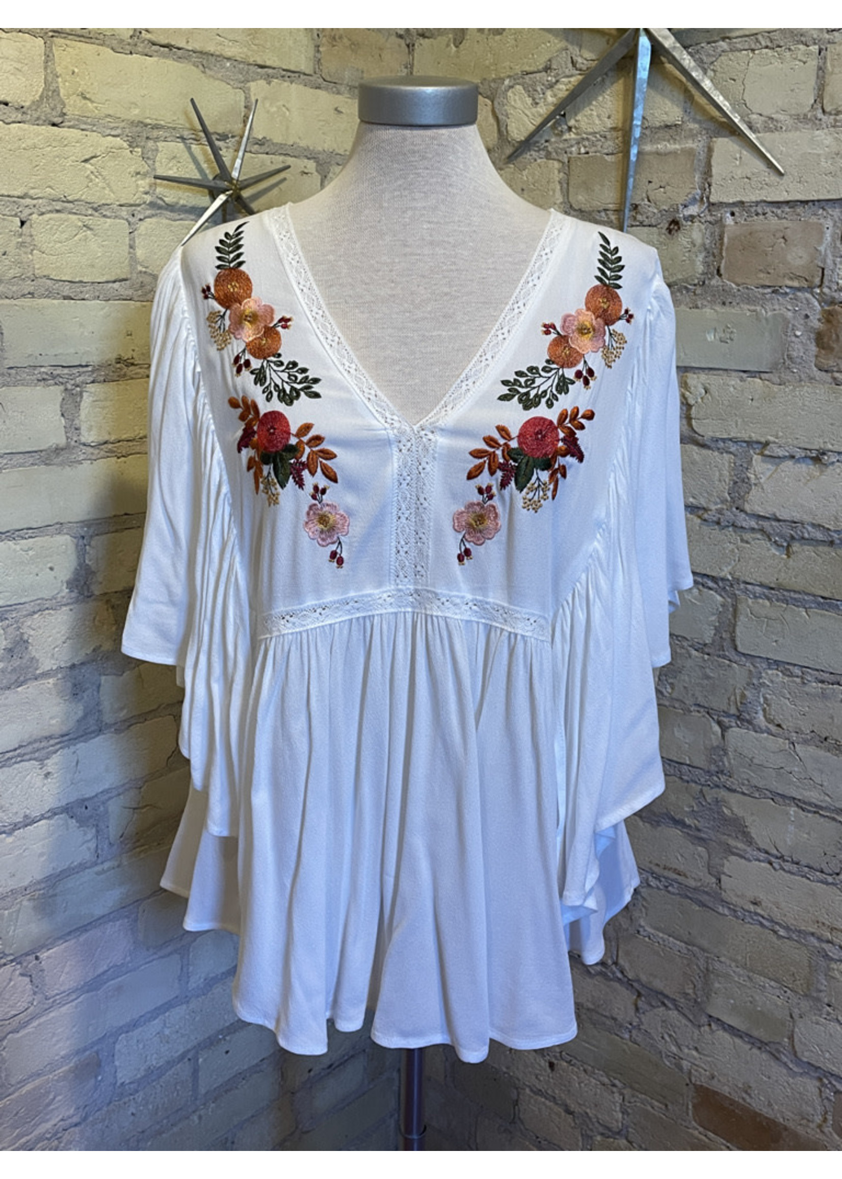 Bluivy Embroidered Peasant Top