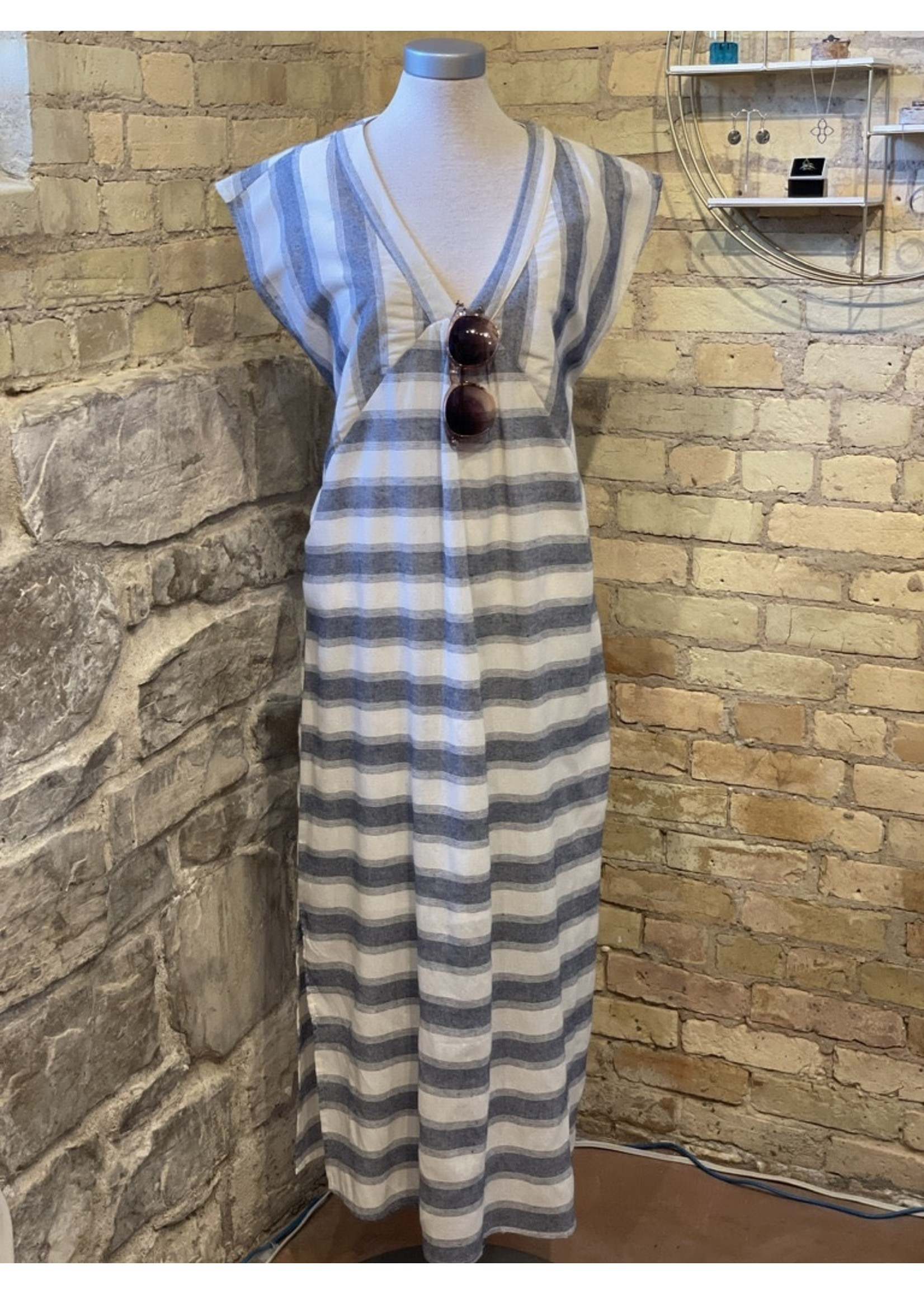 Wishlist V-neck Striped Midi Dress
