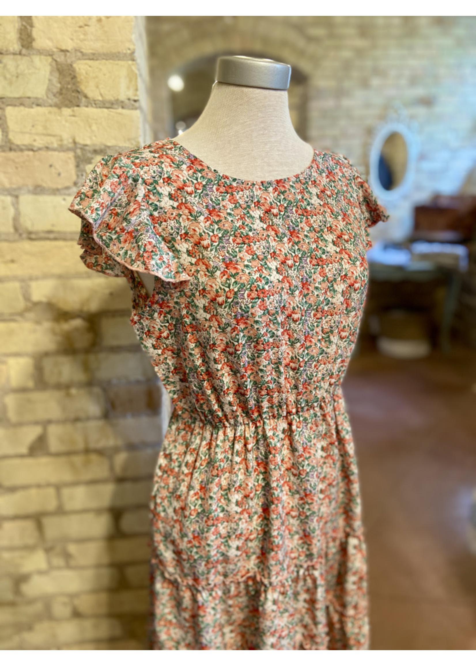 Esley Floral Flutter Sleeve Mini Dress