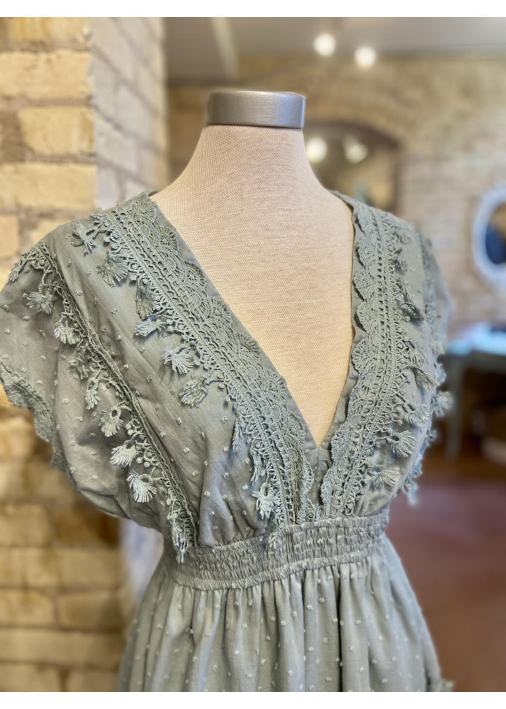 Esley Lace Crochet V-Neck Mini Dress