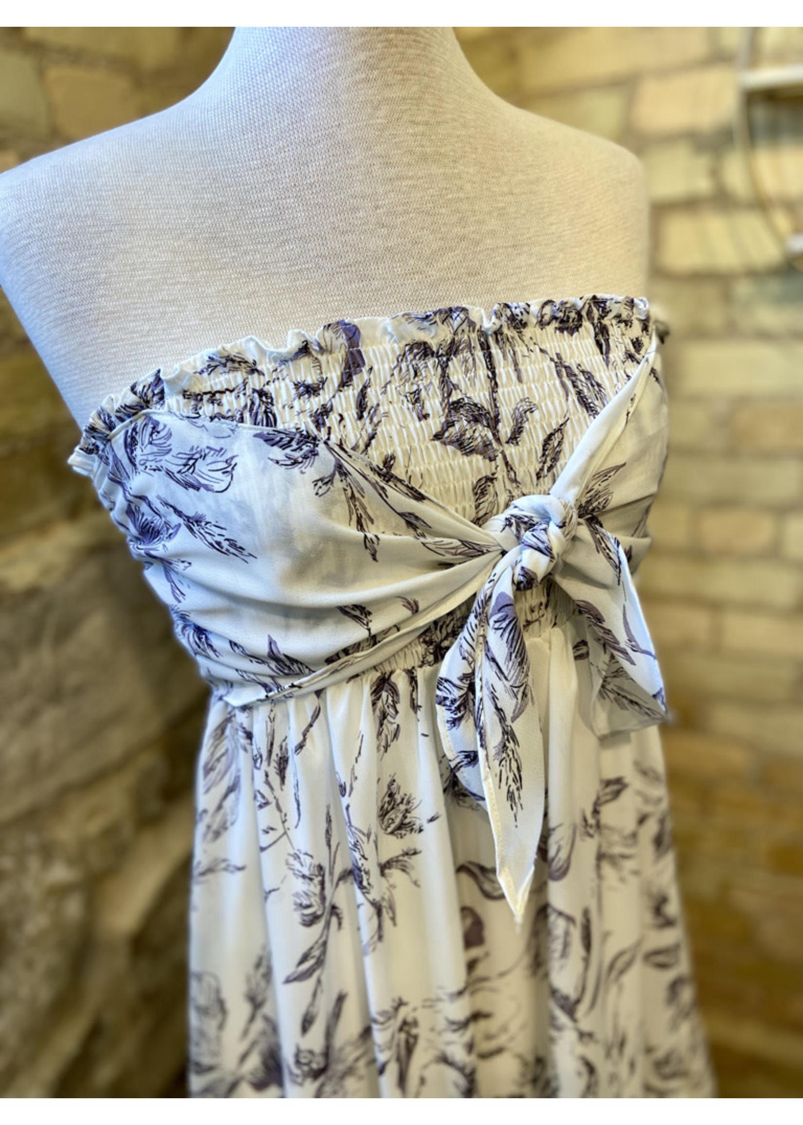 Doe & Rae Strapless Smocked Bodice Dress