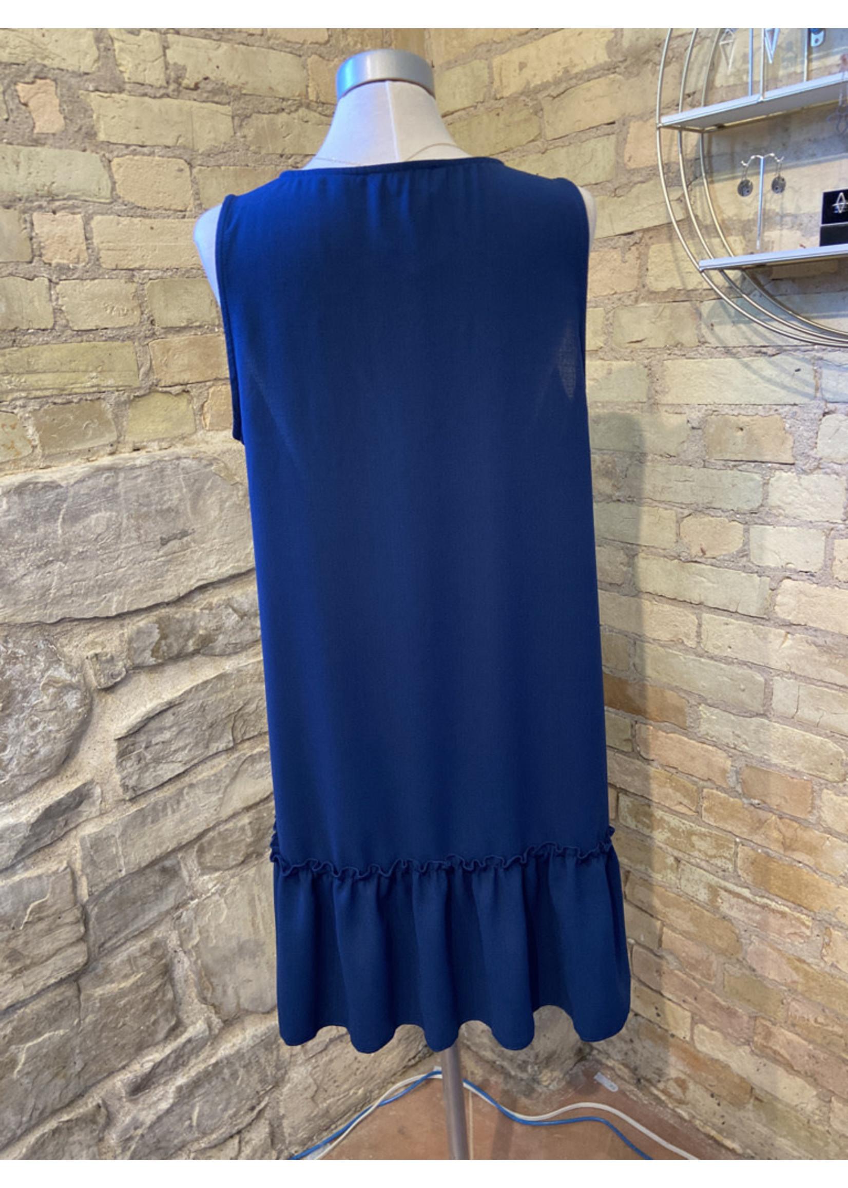 Ces Femme Ruffle Hem V-neck Bar Dress