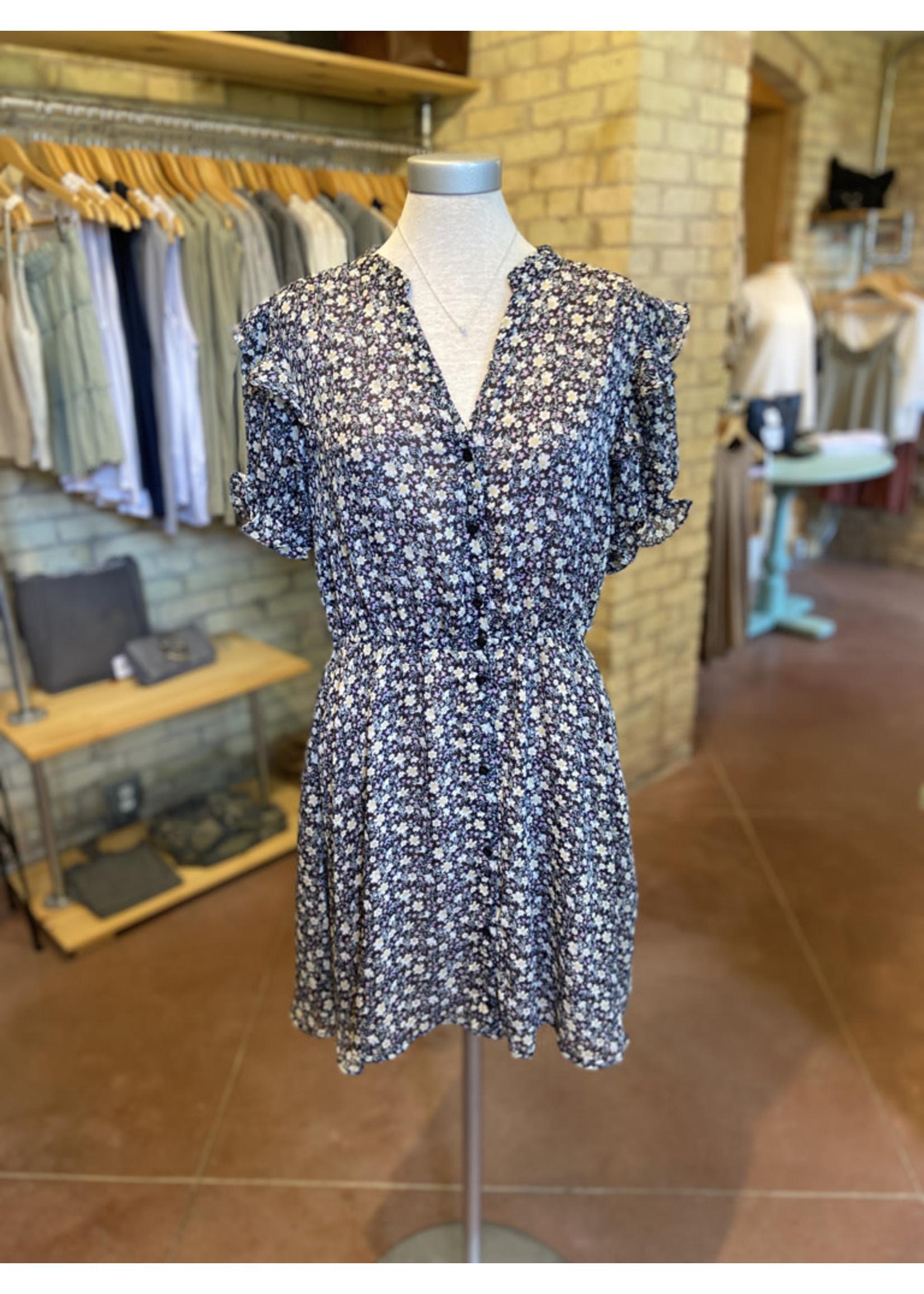 Dress Forum Ditsy Floral Button Down Mini Dress