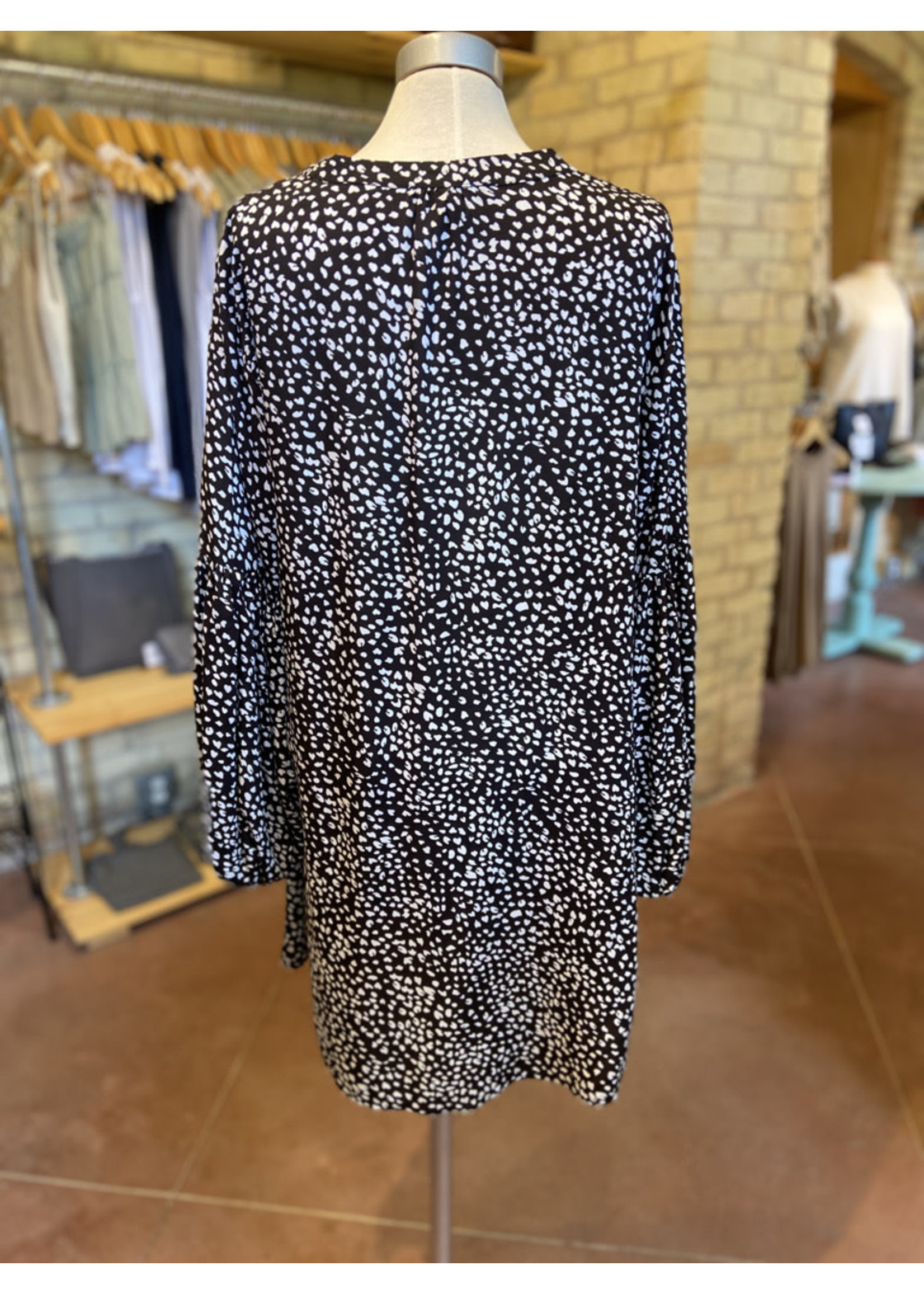 Aakaa Spotted Long Sleeve Mini Dress