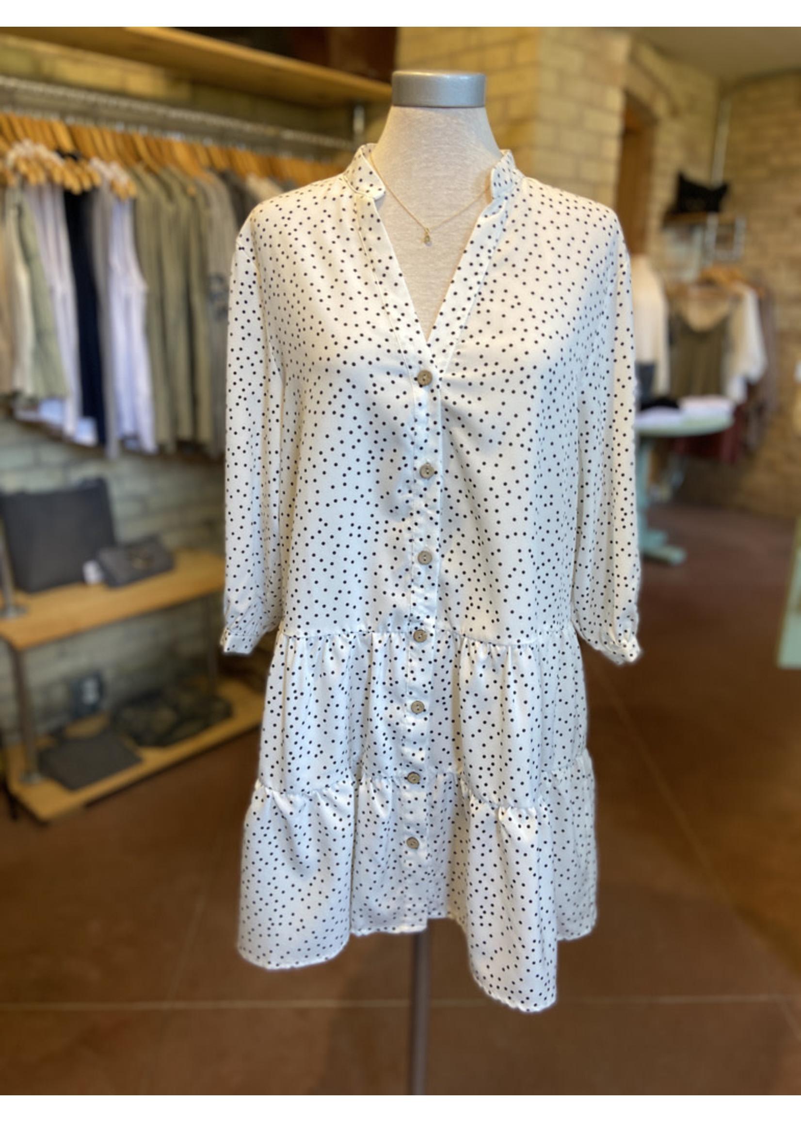 Esley Polka Dot Tiered Mini Dress