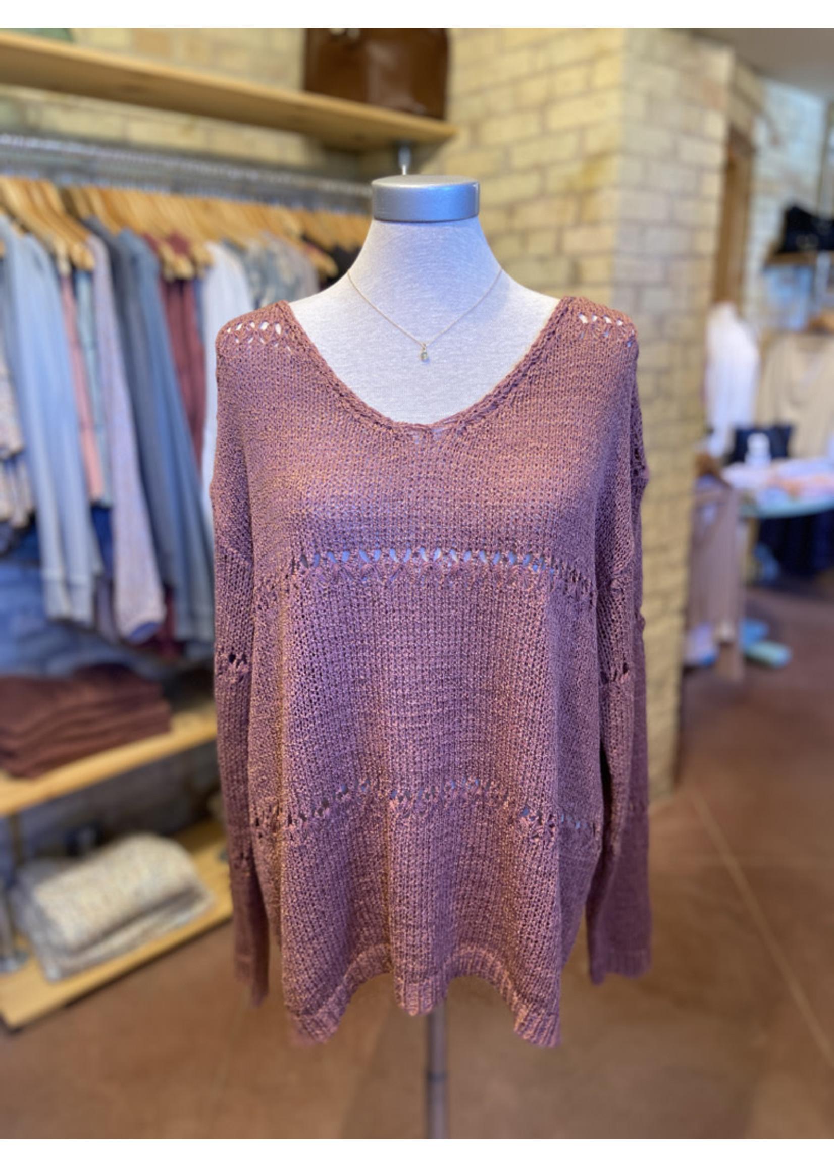 Wishlist Pointelle V-Neck Sweater