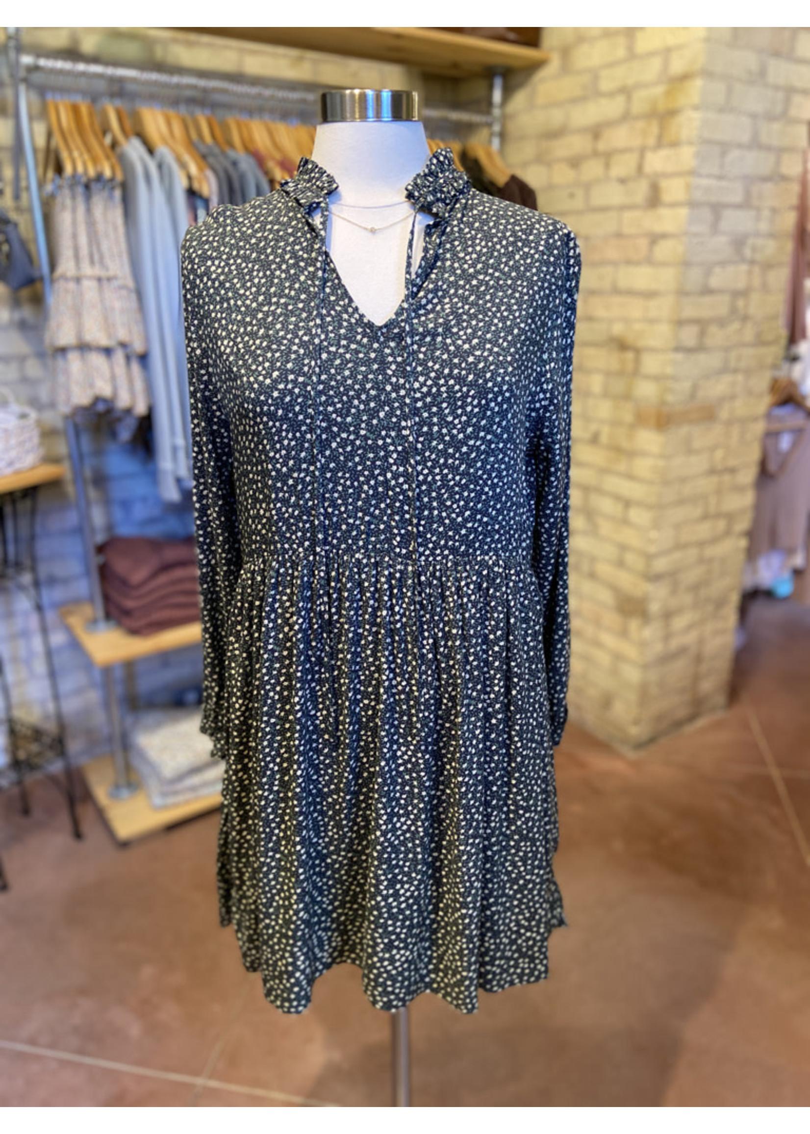 Dress Forum Ditsy Ruffled Long Sleeve Mini Dress