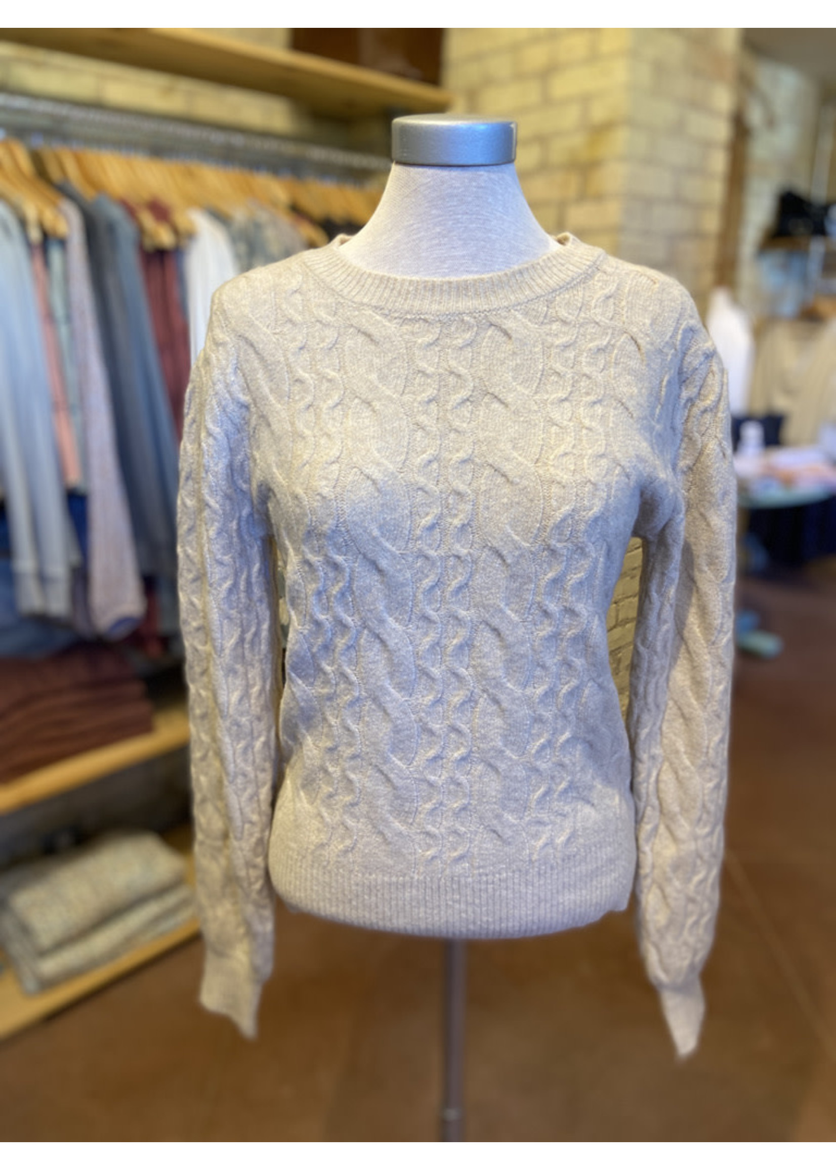 Current Air Round Neck Cable Knit Pullover