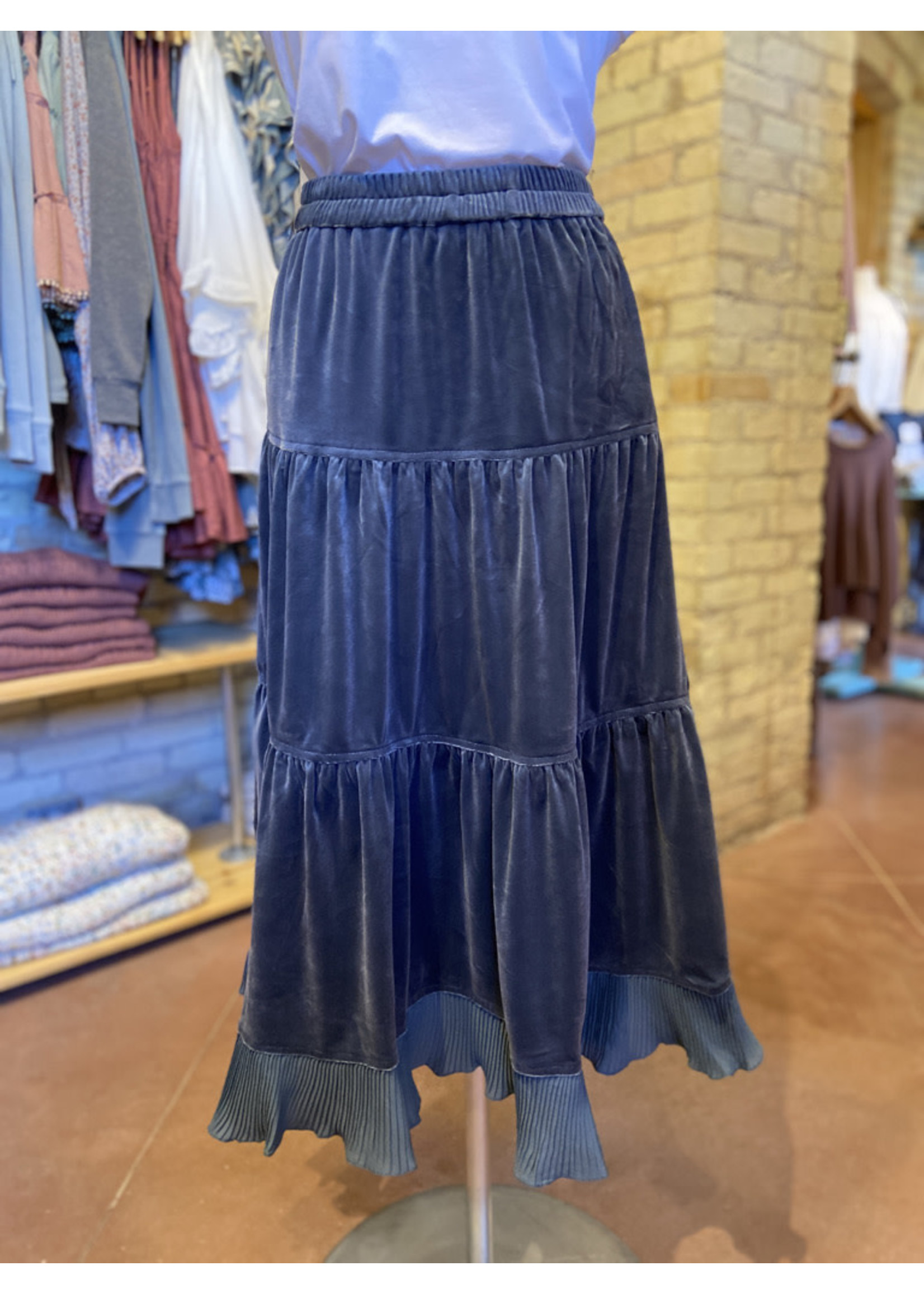 Current Air Velvet Skirt with Pleated Ruffle