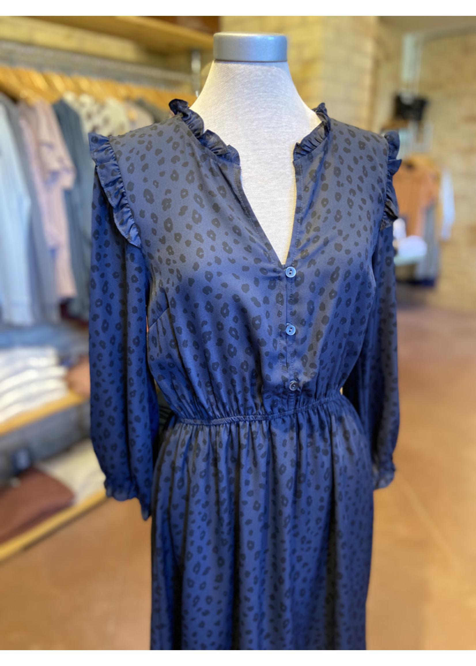 Hem & Thread Leopard Print Button Down Dress