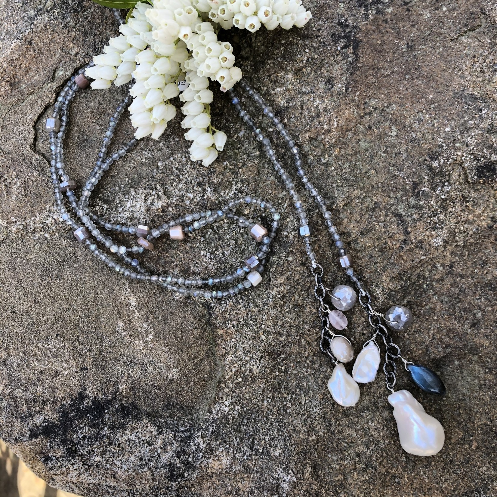 SoMe So Me Designs | Draped in Beauty Necklace. 50 inches long with Baroque Pearls, labradorite, Silverite, Moonstone, Quartz
