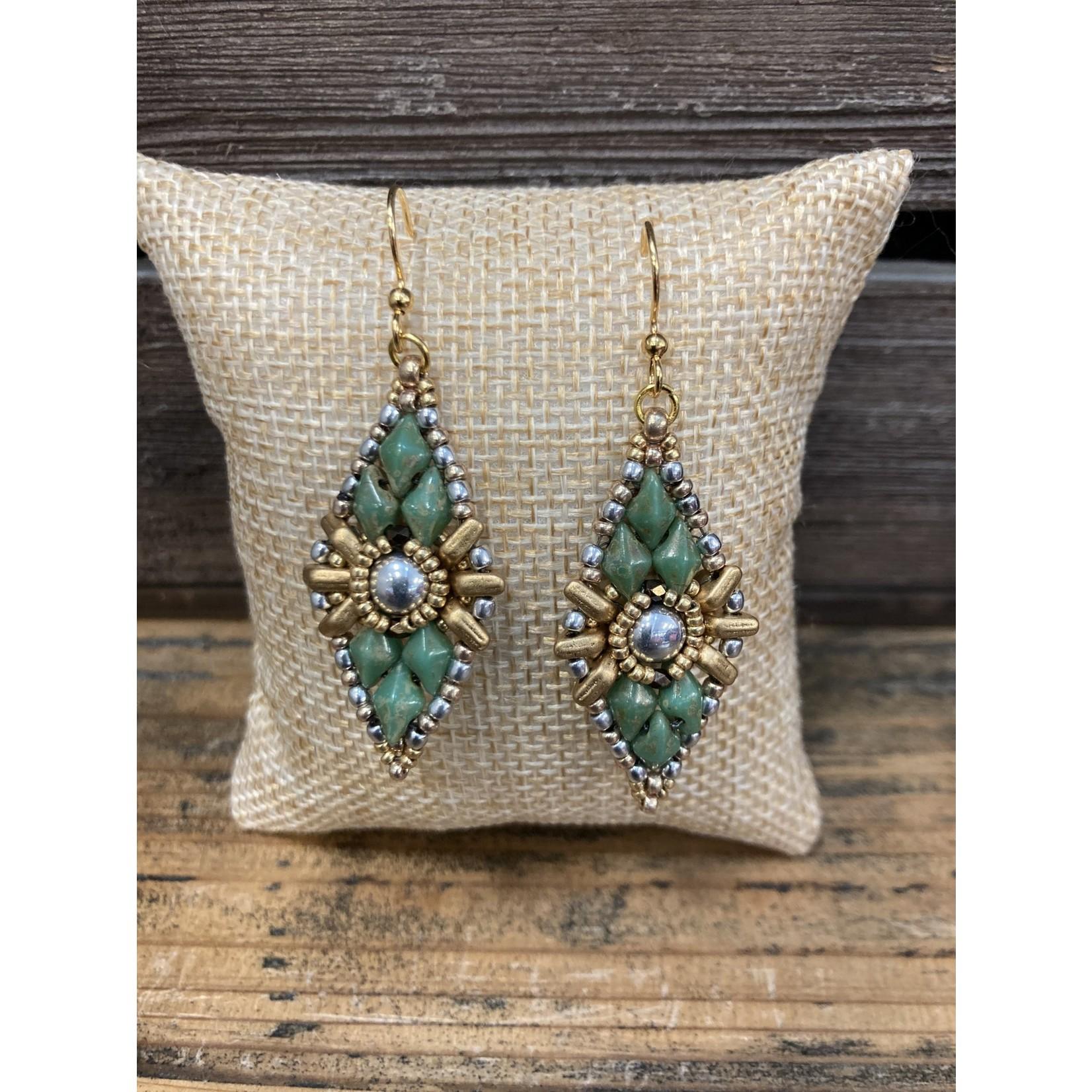 Jeanne Shuff Jeanne Marie| green beaded earring