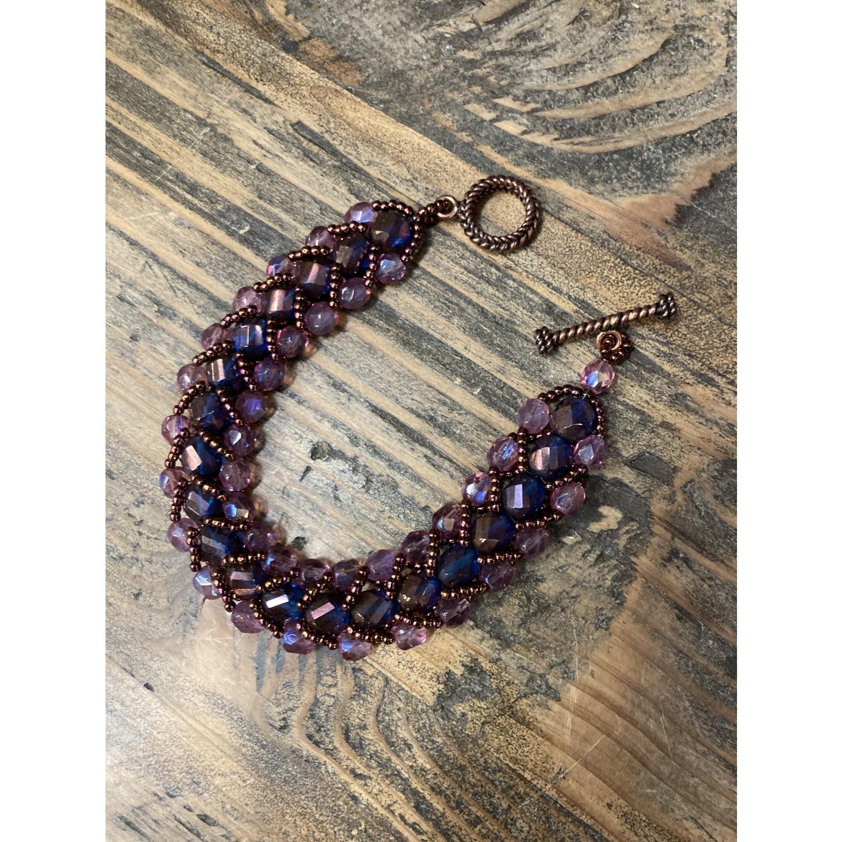 Jeanne Shuff Jeanne Marie | purple laced in bronze bracelet