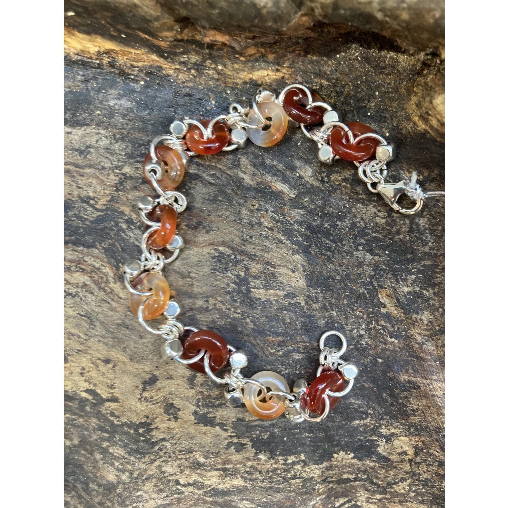 Jeanne Shuff Jeanne Marie   Cornelian & Sterling chain bracelet