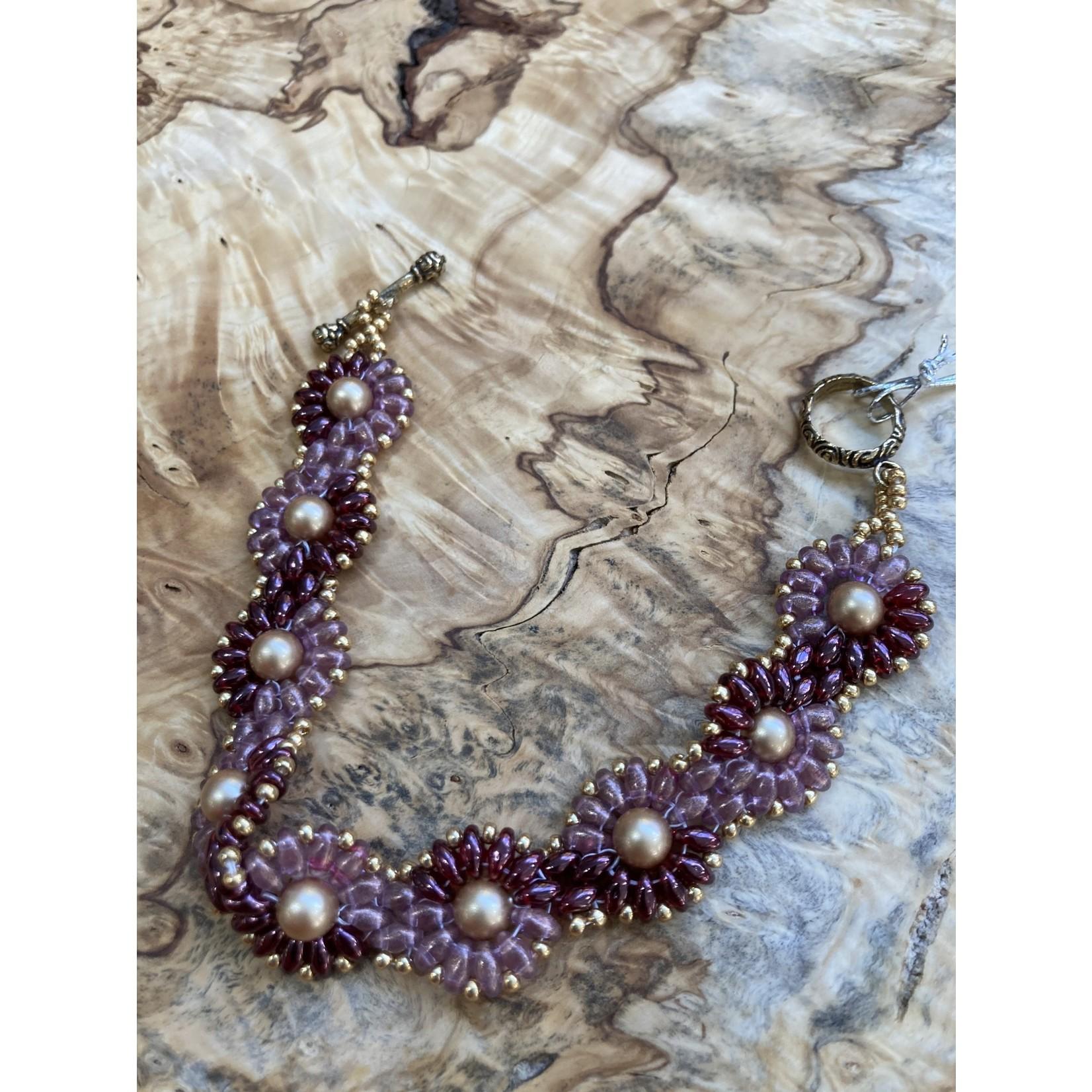 Jeanne Shuff Jeanne Marie | 2tone pink daisy weave bracelet