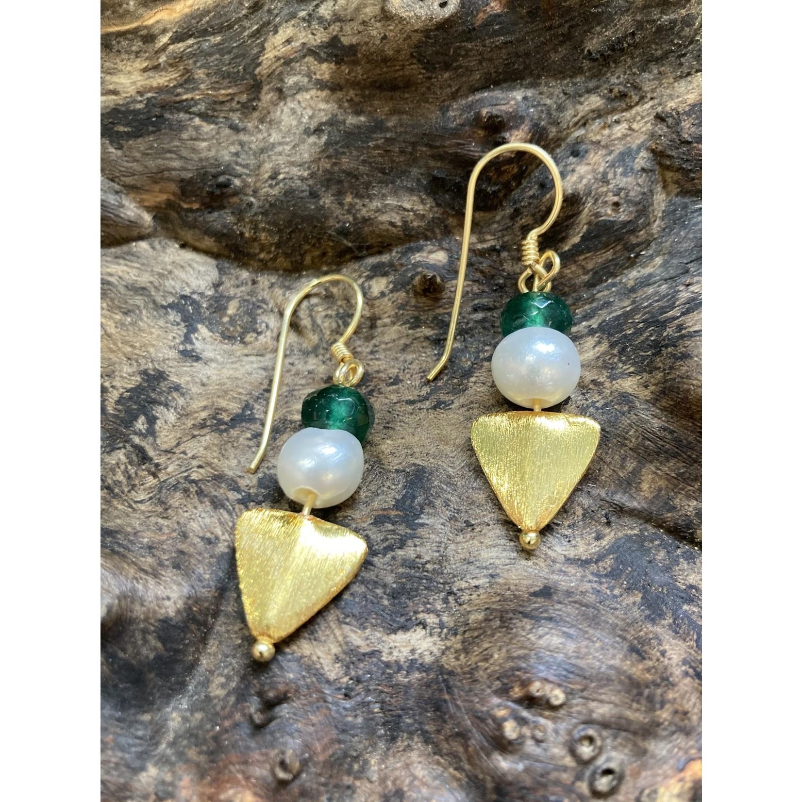Charlene Campbell Charlene Campbell | Triangle pearl/green jade earrings