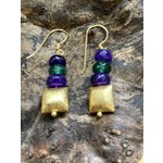 Charlene Campbell Charlene Campbell | Square gold/green/purple jade earrings