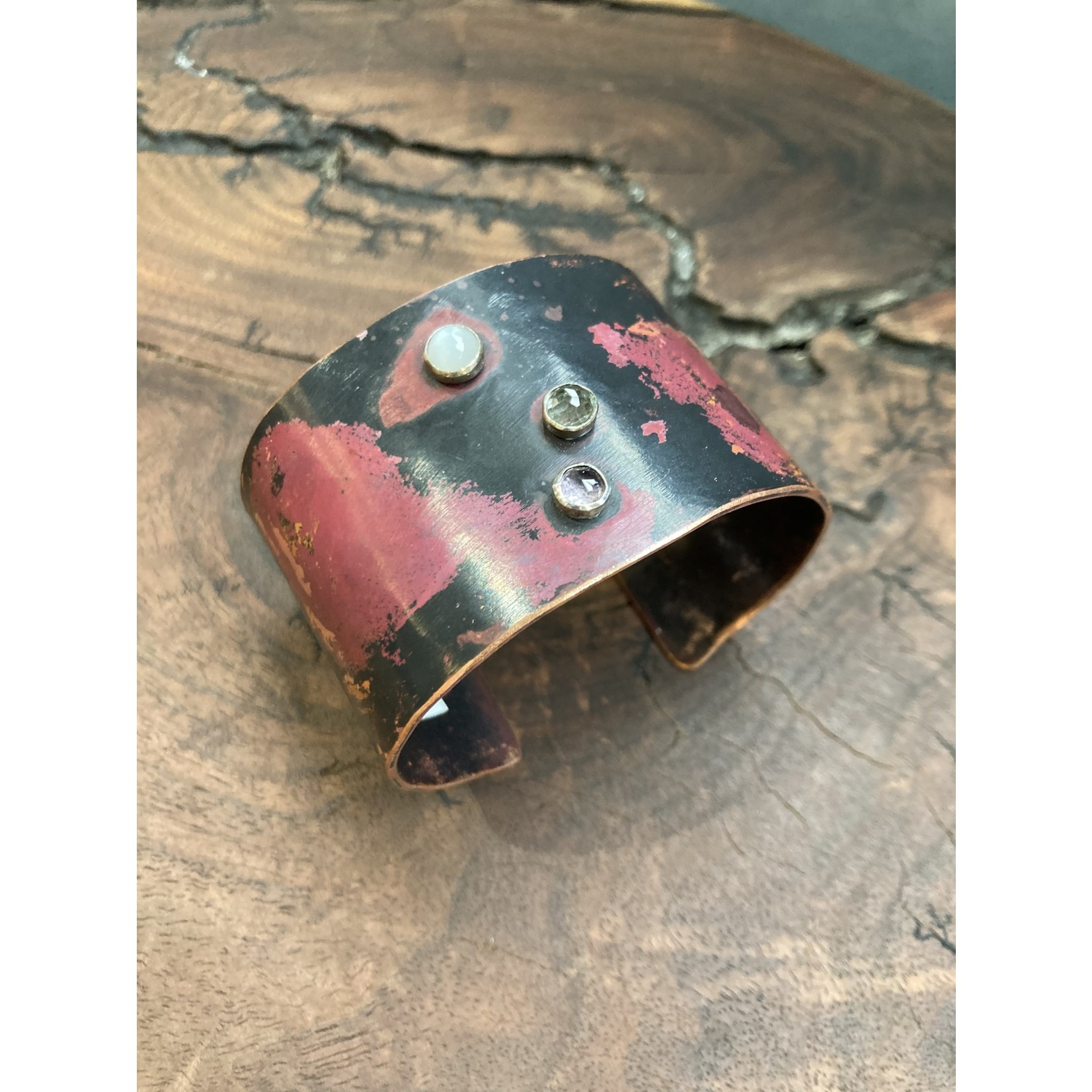 Wendy Todd Wendy Todd #243 Copper Cuff with moonstone, prehnite  & amethyst