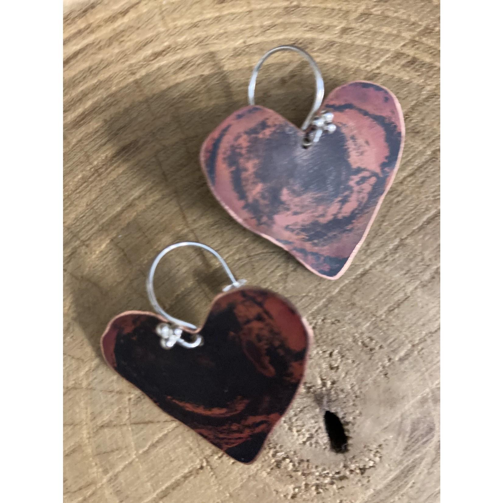 Wendy Todd Wendy Todd #293 medium copper heart earrings on sterling earwire