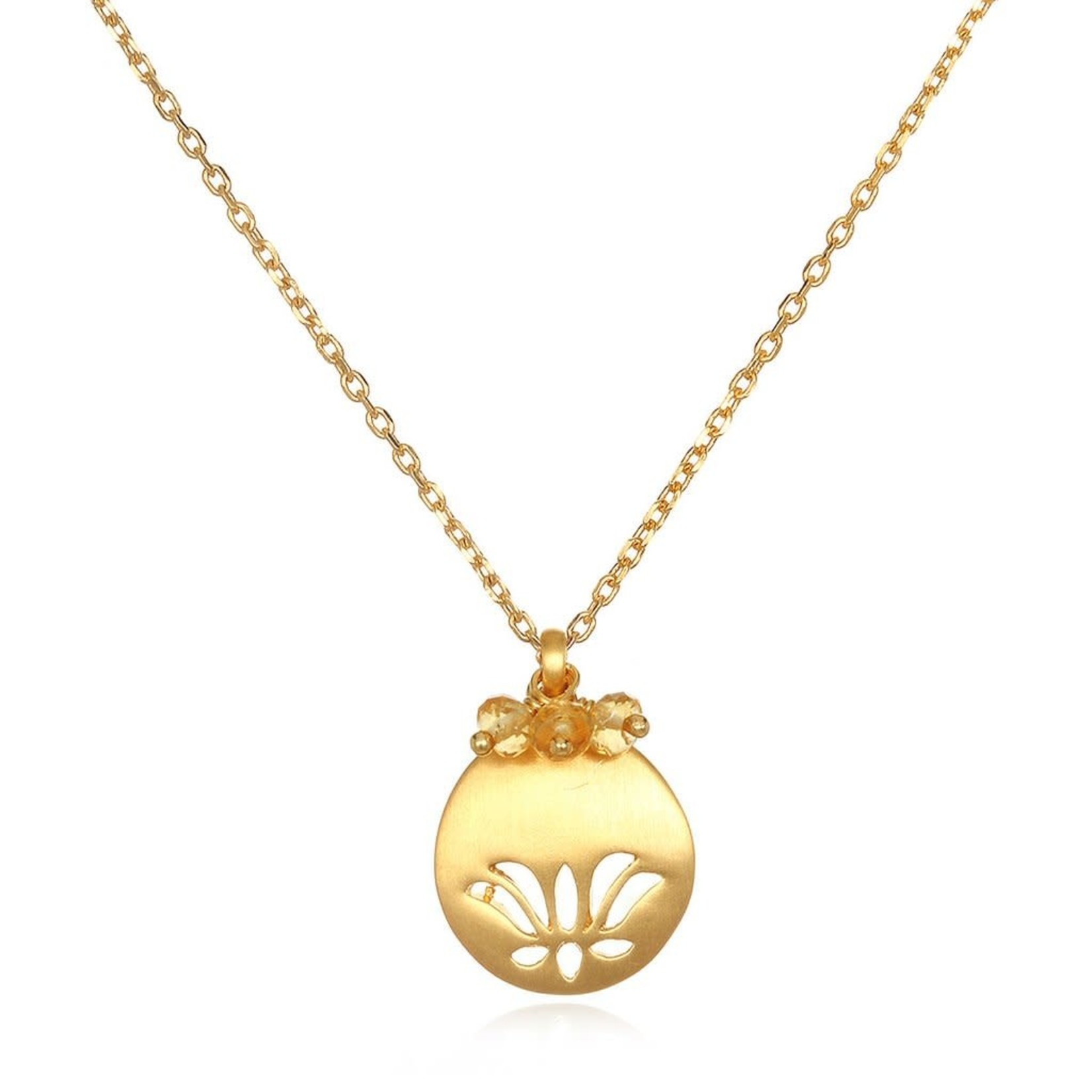 Satya Satya Lotus Birthstone Necklace- November - Citrine