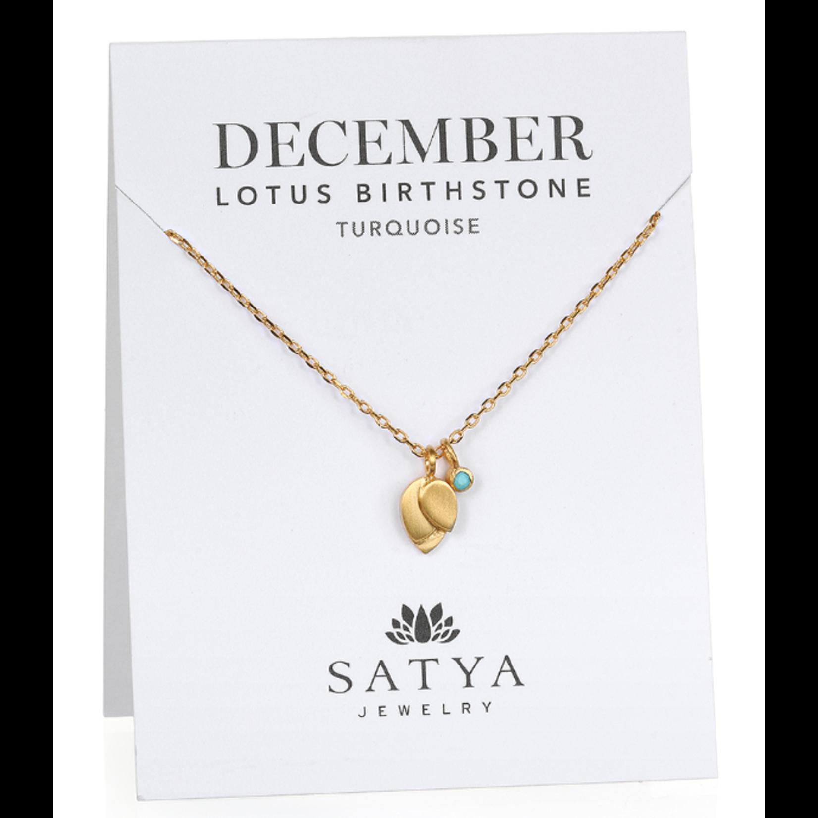 Satya Satya Lotus Leaf Birthstone Necklace- December - Turquoise