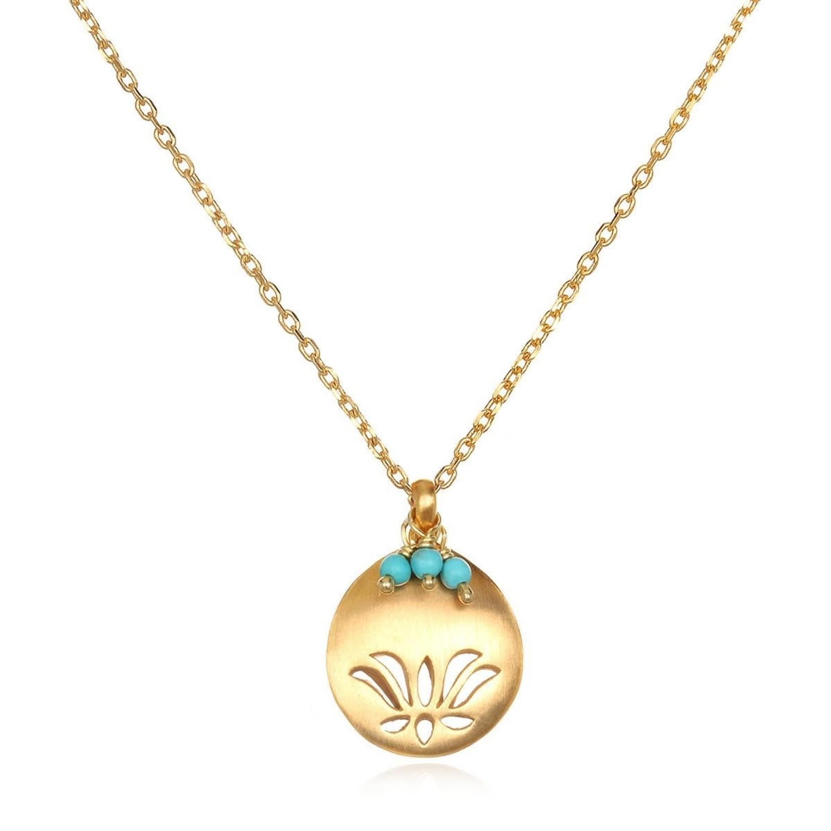 Satya Satya Lotus Birthstone Necklace - December - Turquoise