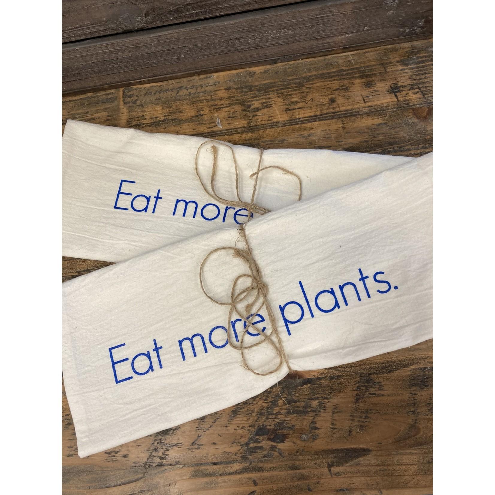 Sarah Kaminski Flour Sack 100% cotton kitchen towel Blue print Eat more plants