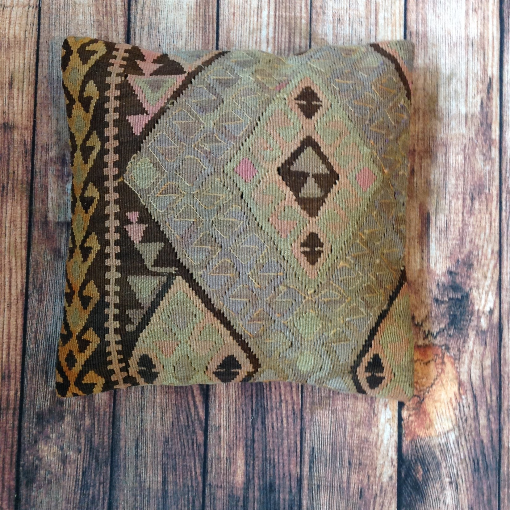 Gonca Teker Kocyildirim Gonca Teker Turkish Kilim Pillow Brown/Green/Diamonds - Tan Back 20 x 20