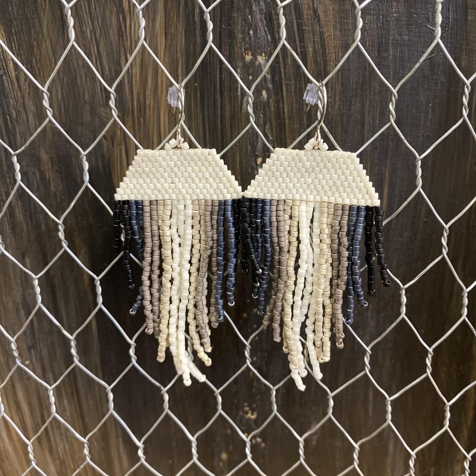 Hillary Linzy Little Grave Creek Fringe Earrings - Ivory/black/gray