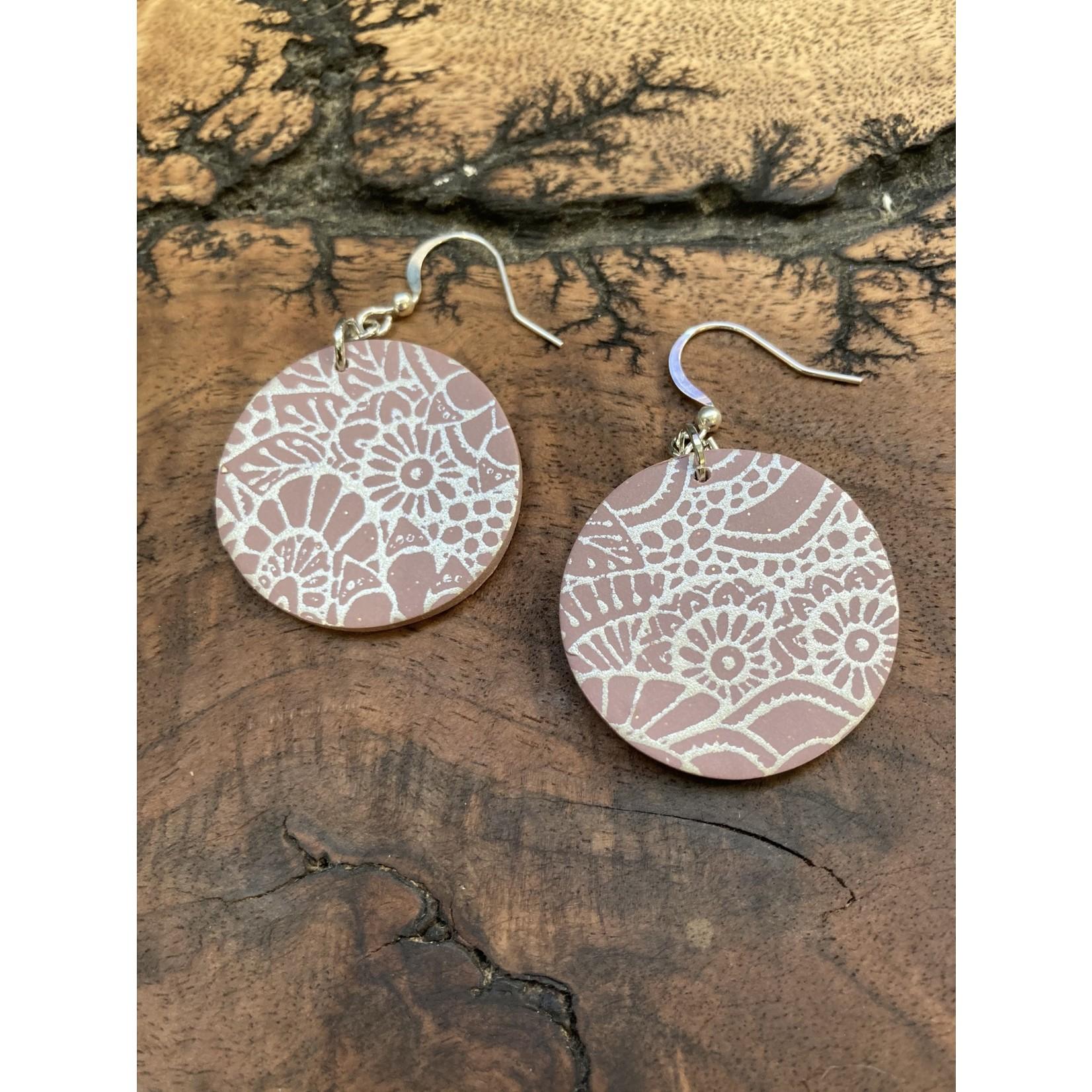 lauren Romagnola 5B Jewelry | Circle Dangle Mauve pattern
