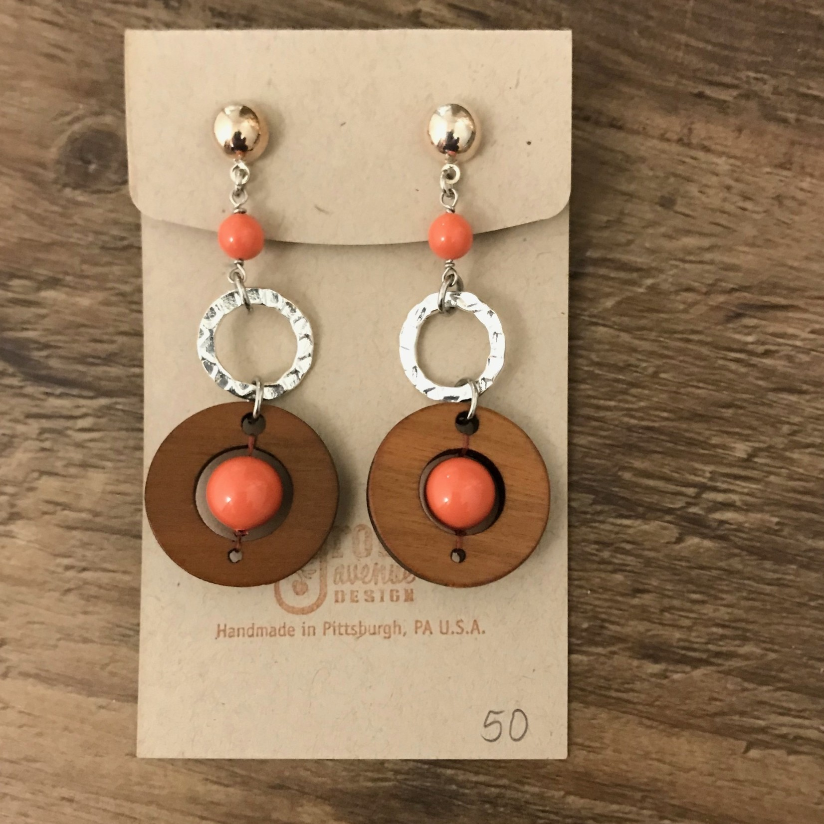 Valerie Hildenbrand Grove Avenue Design - FLW Round with Rings Coral Earrings E02301